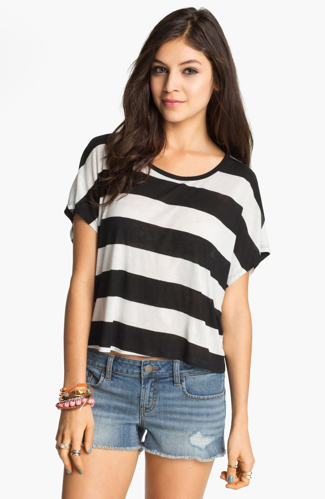 Alternate Image 1 Selected - Elodie Stripe Crop Tee (Juniors)