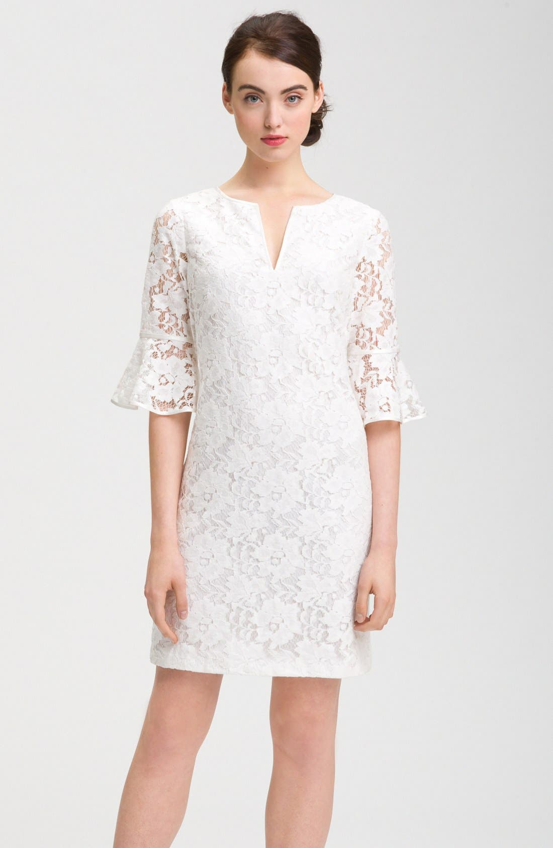 Main Image - Adrianna Papell Ruffle Sleeve Lace Dress