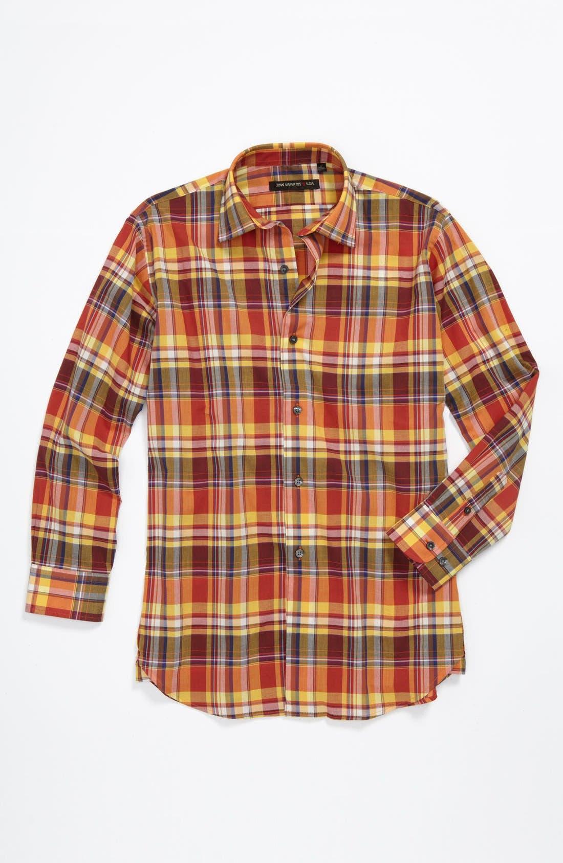 Alternate Image 1 Selected - John Varvatos Star USA Check Woven Shirt (Big Boys)