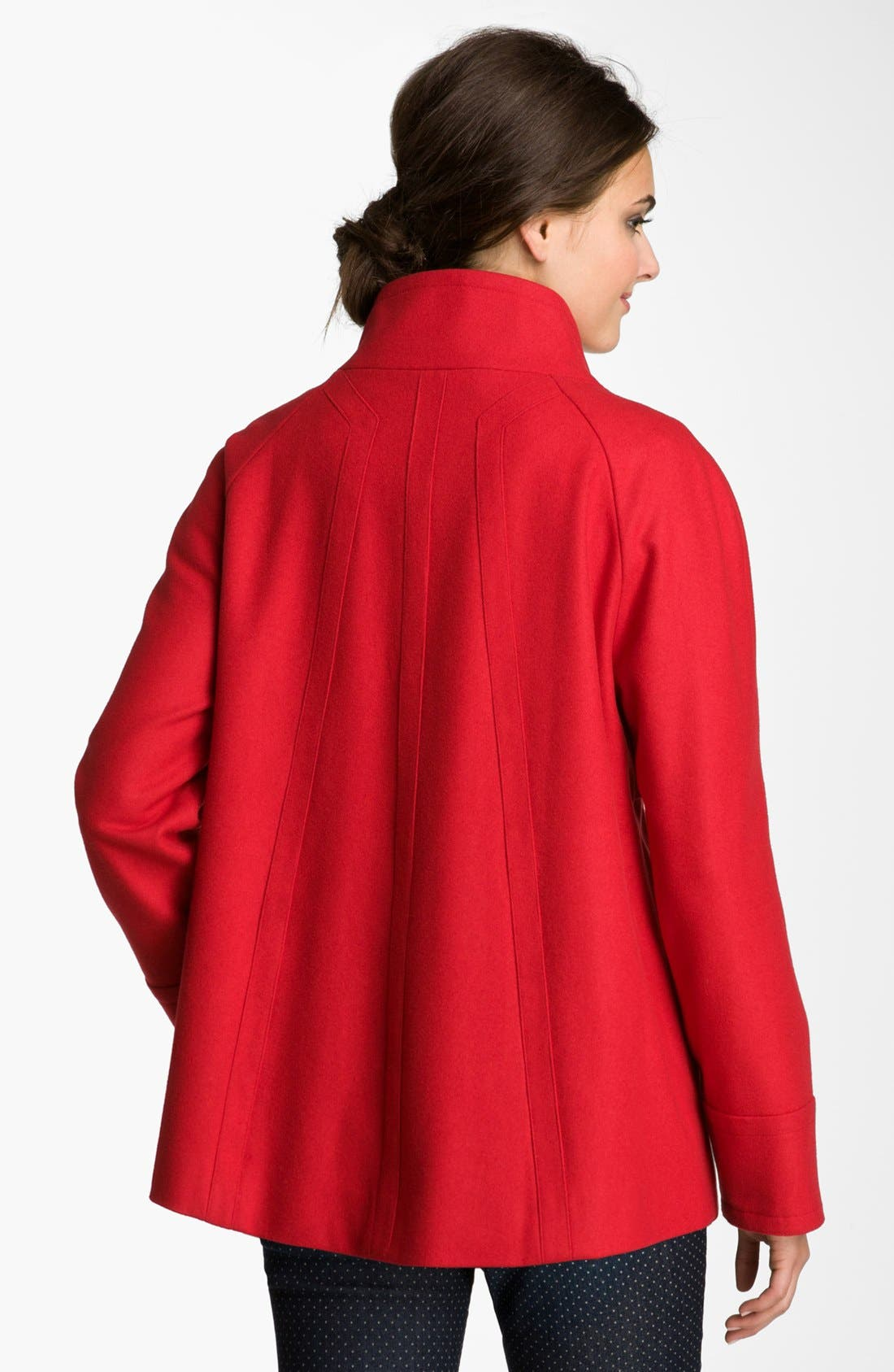 Alternate Image 2  - Ellen Tracy Stand Collar A-Line Coat (Petite) (Nordstrom Exclusive)