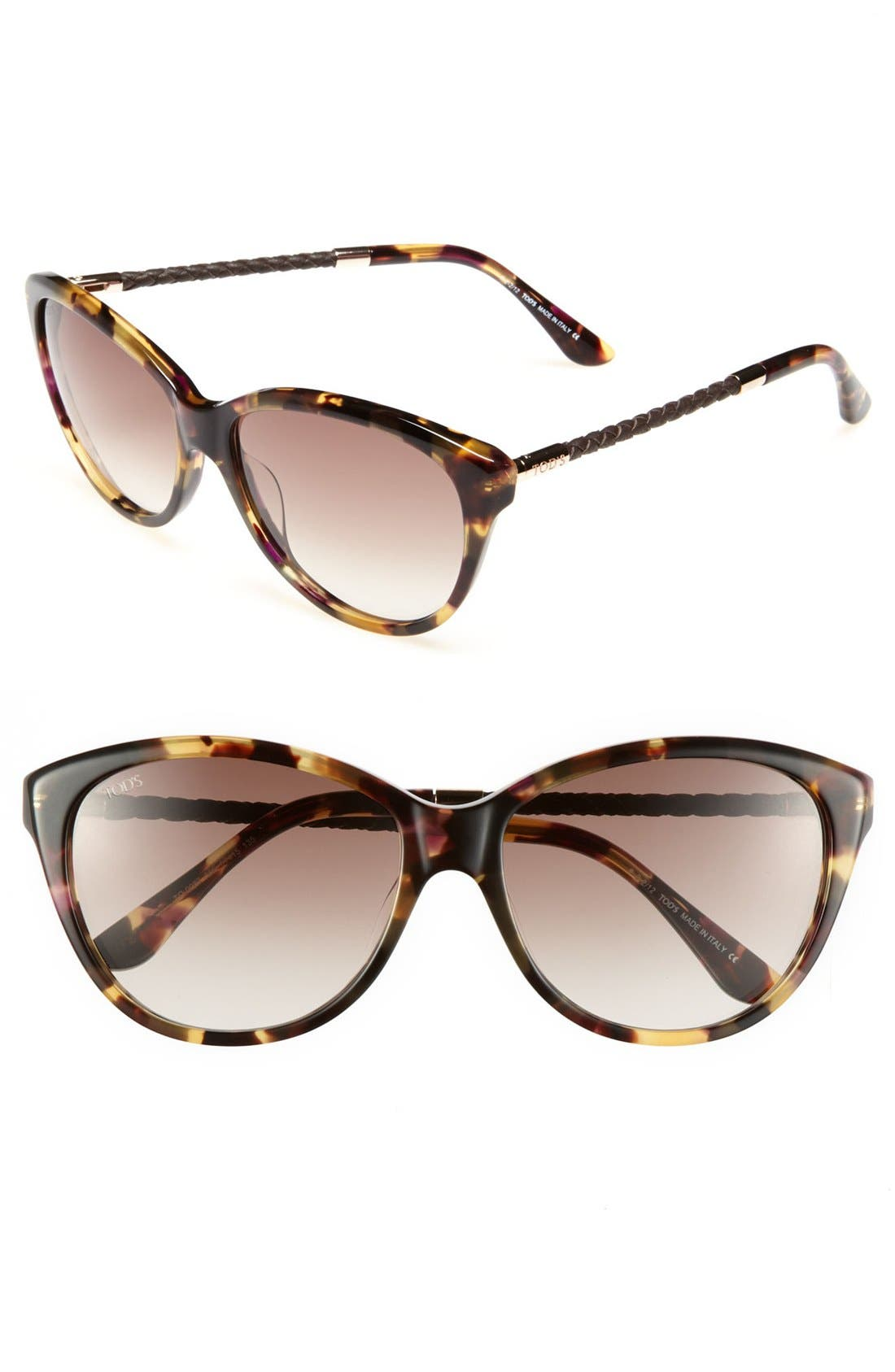 Main Image - Tod's 57mm Woven Leather Temple Cat Eye Sunglasses