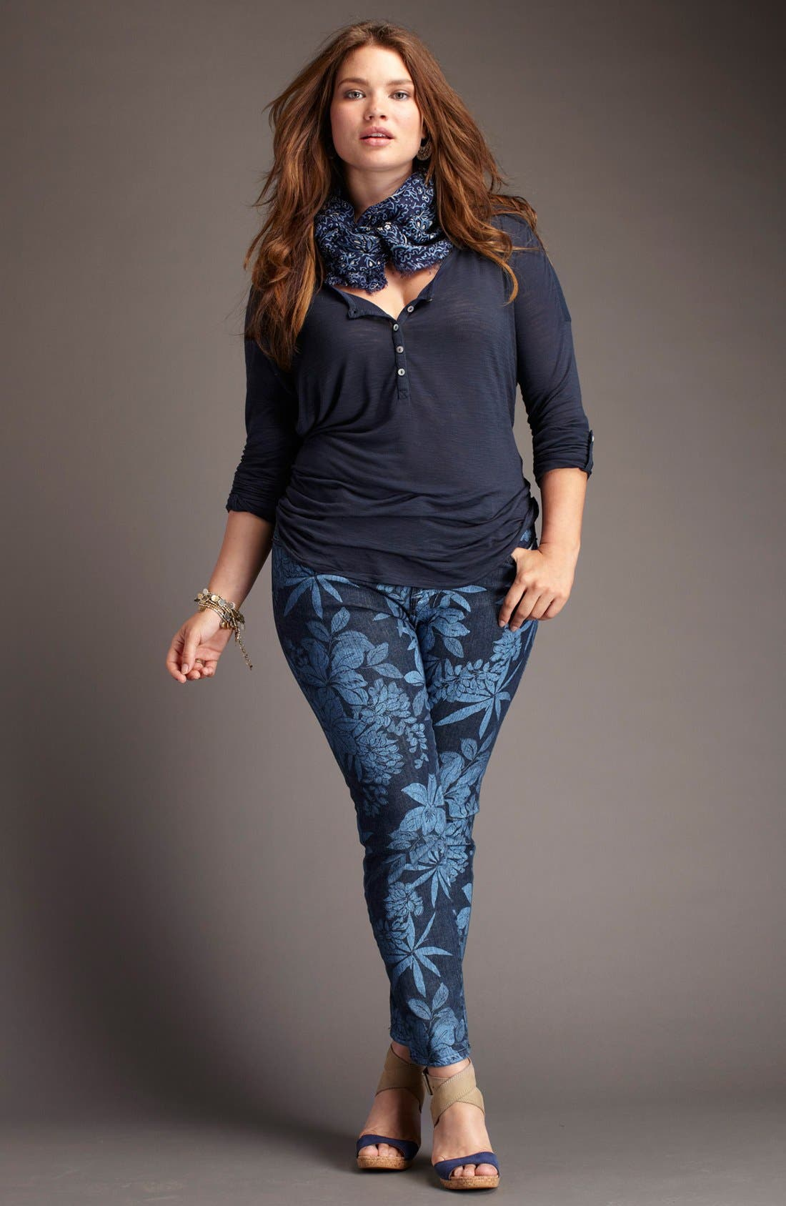 Alternate Image 4  - Lucky Brand 'Ginger' Print Skinny Jeans (Plus)