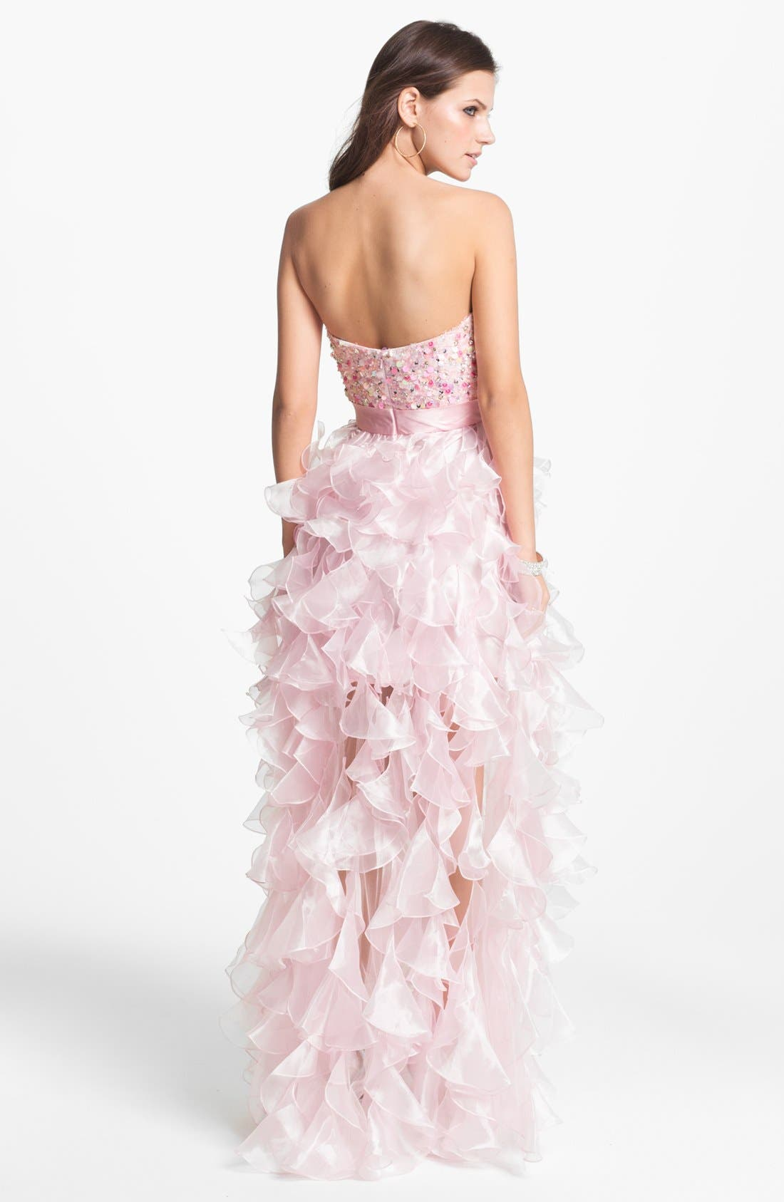 Alternate Image 2  - Sherri Hill 'Corkscrew' Embellished Ruffled Chiffon Dress