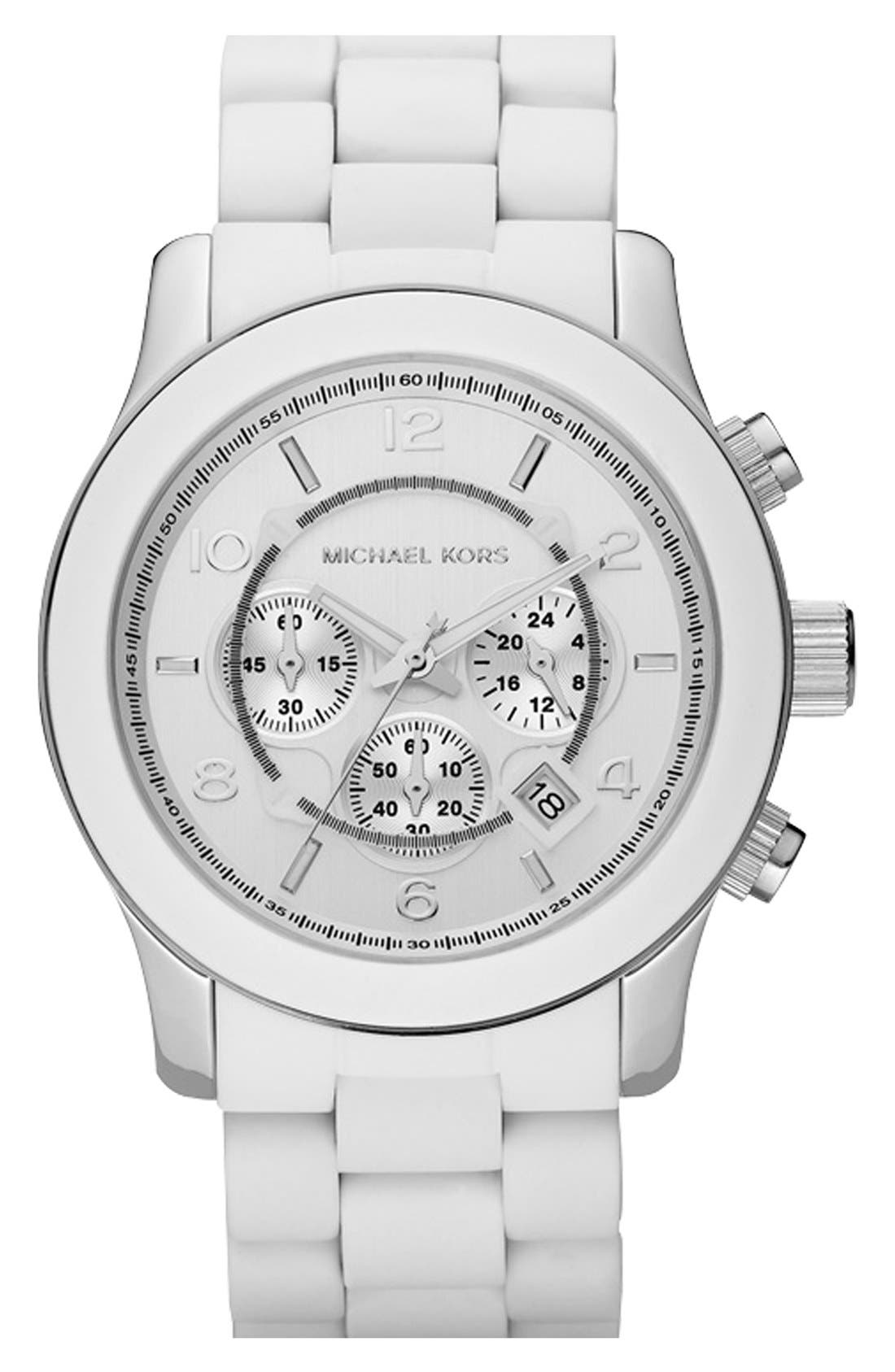 Alternate Image 1 Selected - Michael Kors 'Large Runway Silicone Wrap' Watch, 46mm