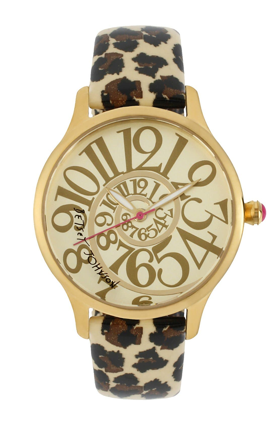 Alternate Image 1 Selected - Betsey Johnson Swirl Dial Patent Leather Strap Watch, 39mm