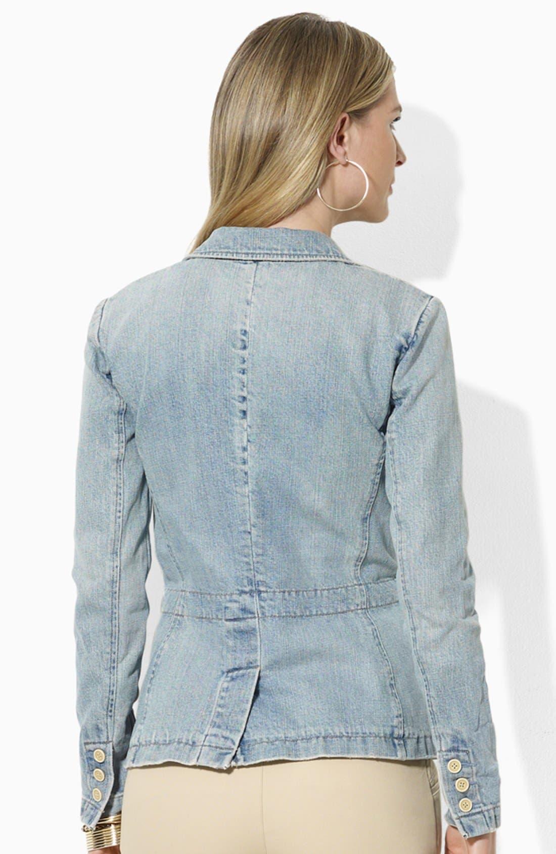 Alternate Image 2  - Lauren Ralph Lauren Three Button Denim Blazer (Petite) (Online Only)