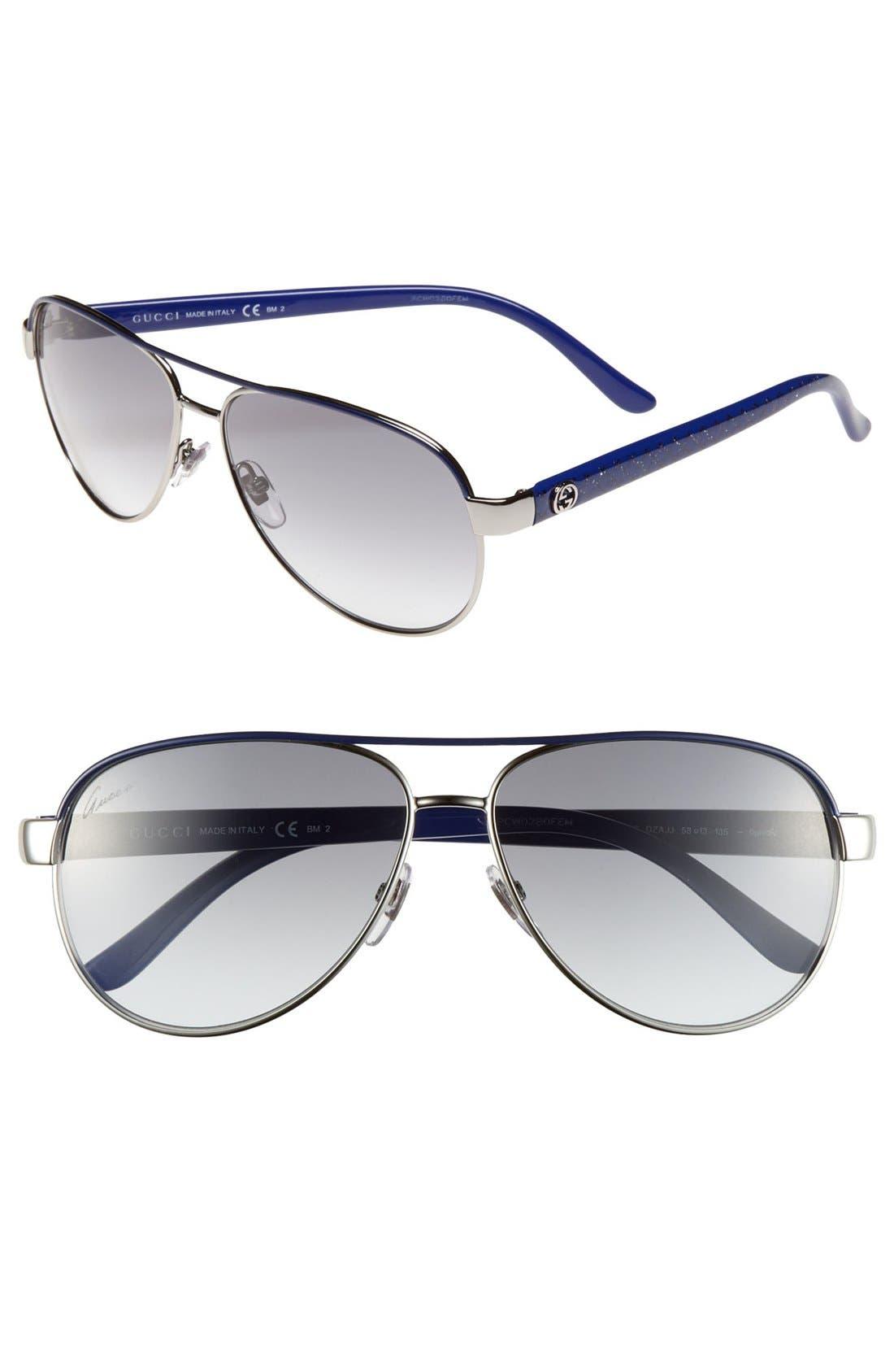 Main Image - Gucci Metal 58mm Aviator Sunglasses