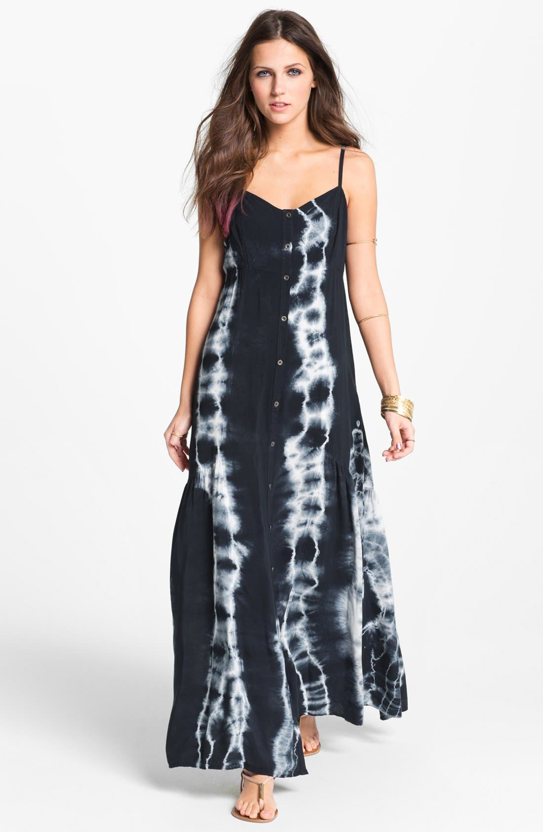 Main Image - Mimi Chica Tie Dye Vintage Maxi Dress (Juniors) (Online Only)