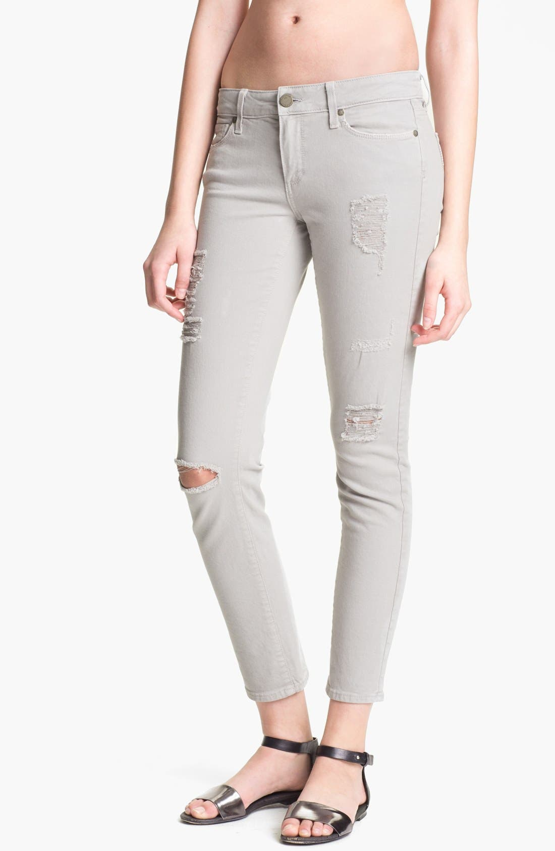 Main Image - Paige Denim 'Skyline' Destroyed Ankle Peg Skinny Jeans (Metal Destruction)
