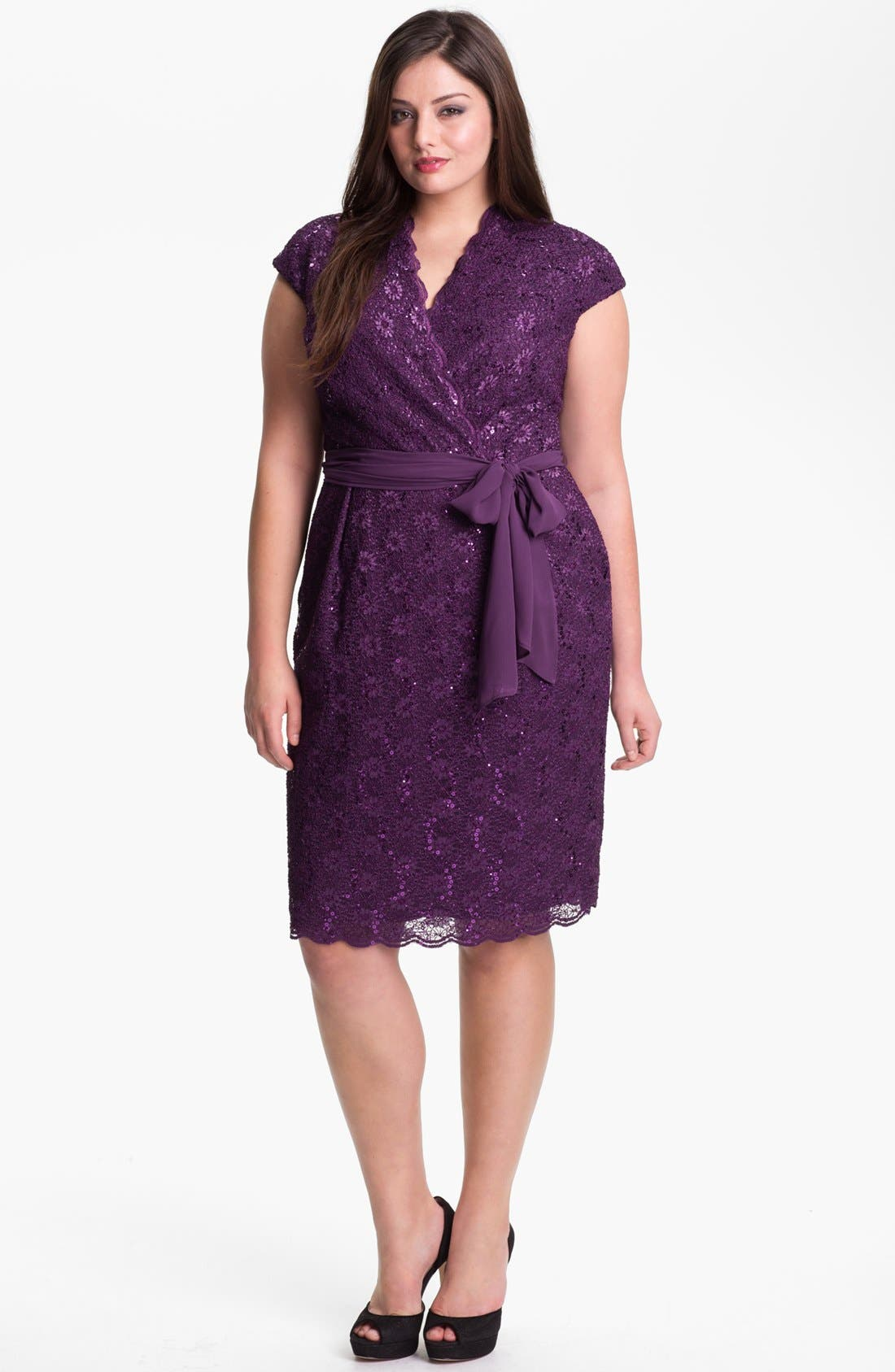 Alternate Image 1 Selected - Alex Evenings Surplice Lace Dress (Plus Size)