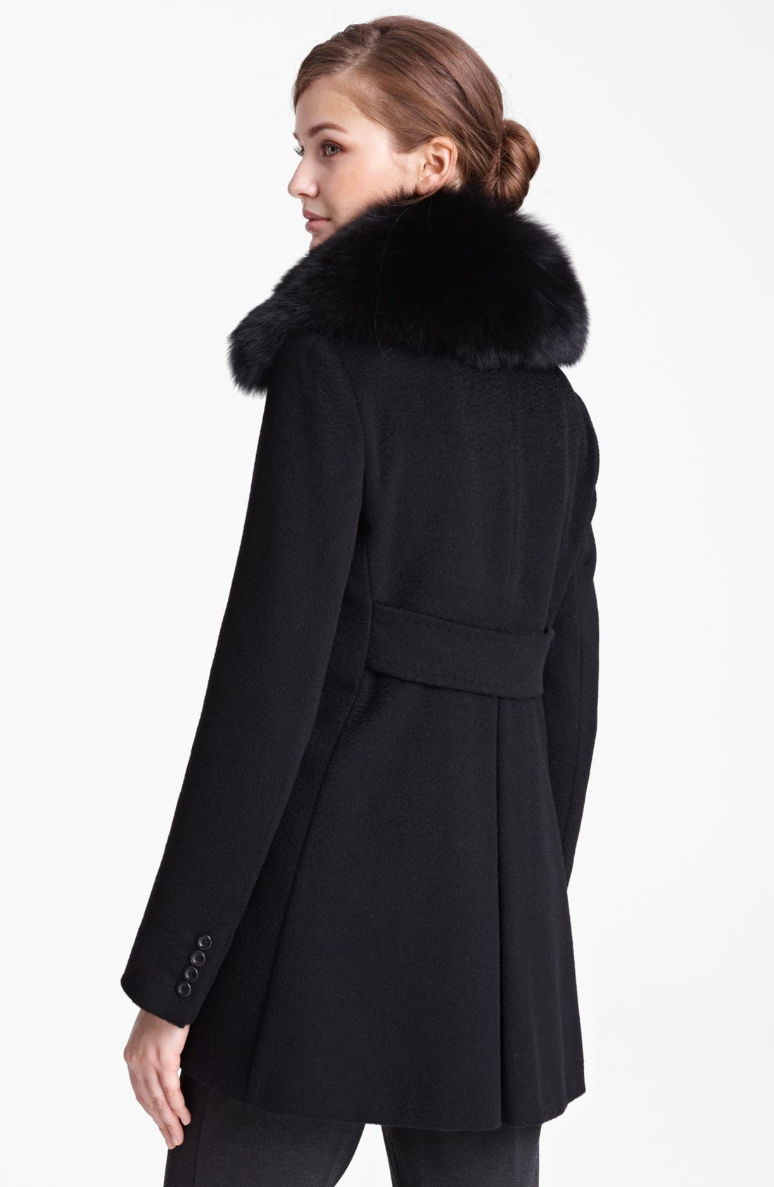 Alternate Image 2  - Max Mara Camel's Hair Swing Coat with Genuine Fur Collar