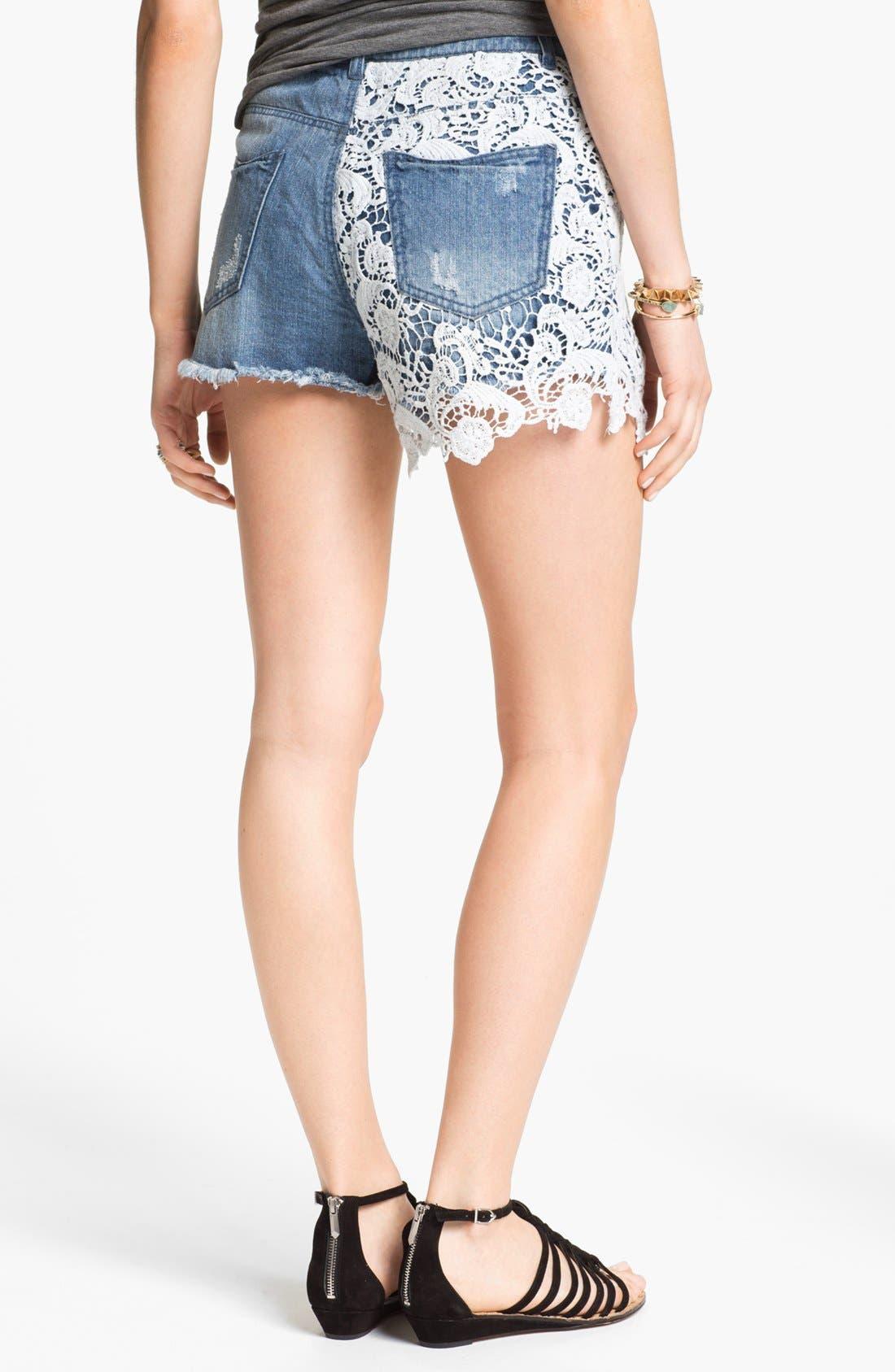 Alternate Image 2  - Fire High Waist Lace Overlay Shorts (Juniors)