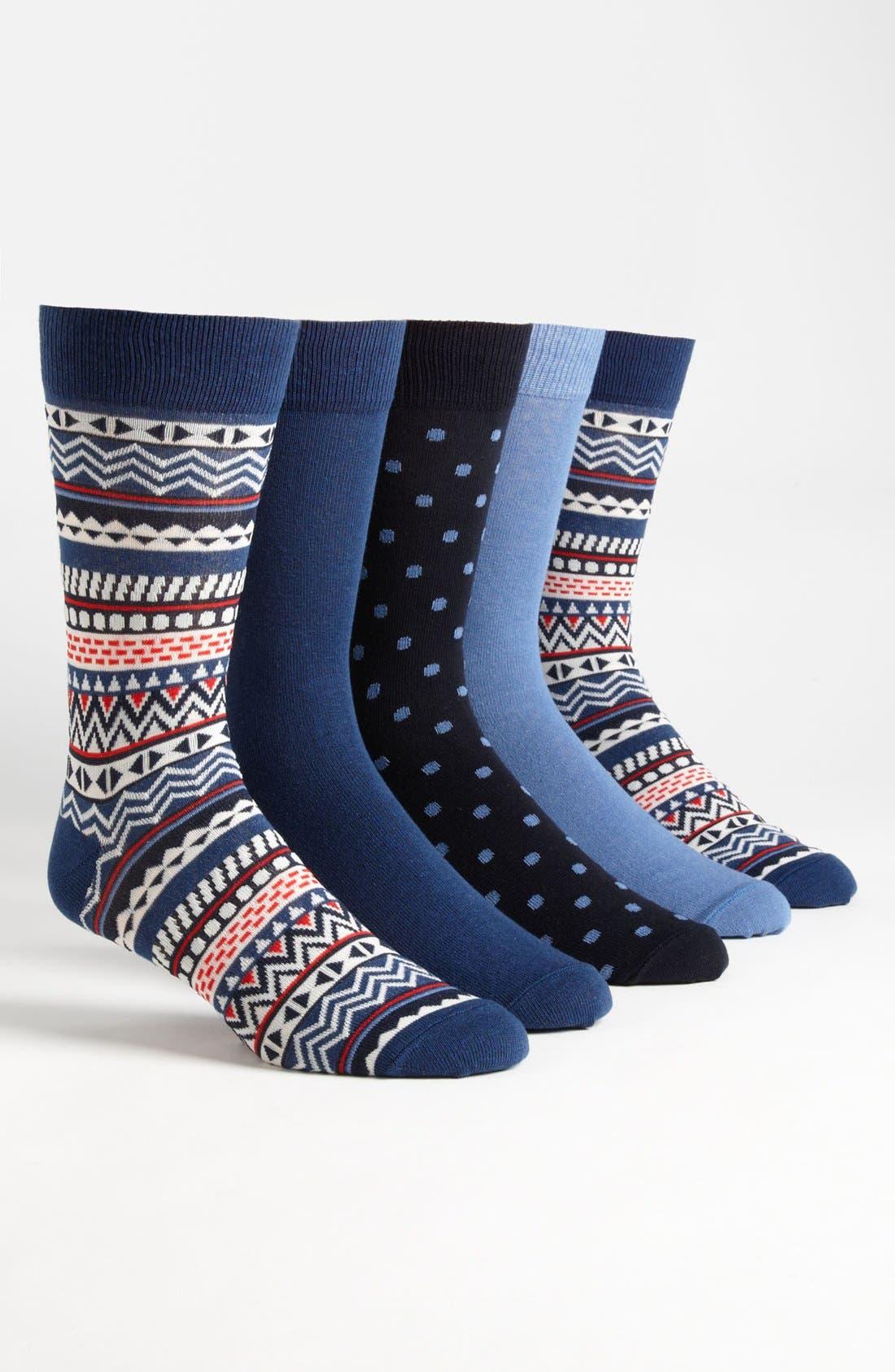 Main Image - Topman Pattern Socks (5-Pack)