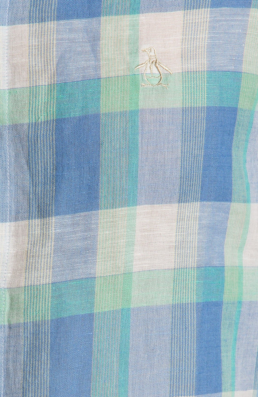 Alternate Image 2  - Original Penguin Heritage Fit Plaid Linen Blend Shirt