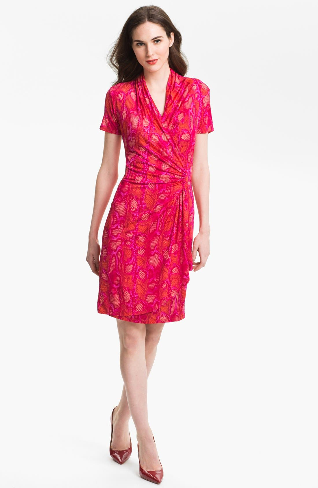 Alternate Image 1  - Karen Kane Snakeskin Print Faux Wrap Dress