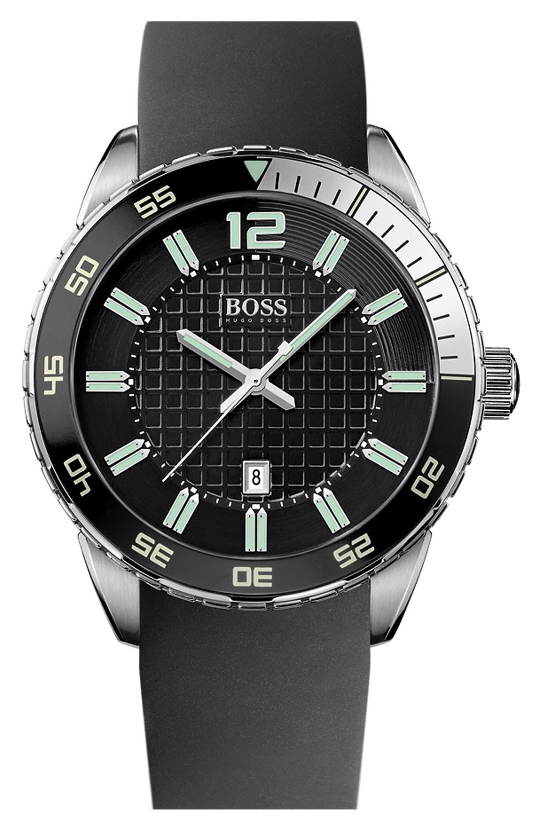 Main Image - BOSS HUGO BOSS 'Deep Blue' Round Silicone Strap Watch, 46mm