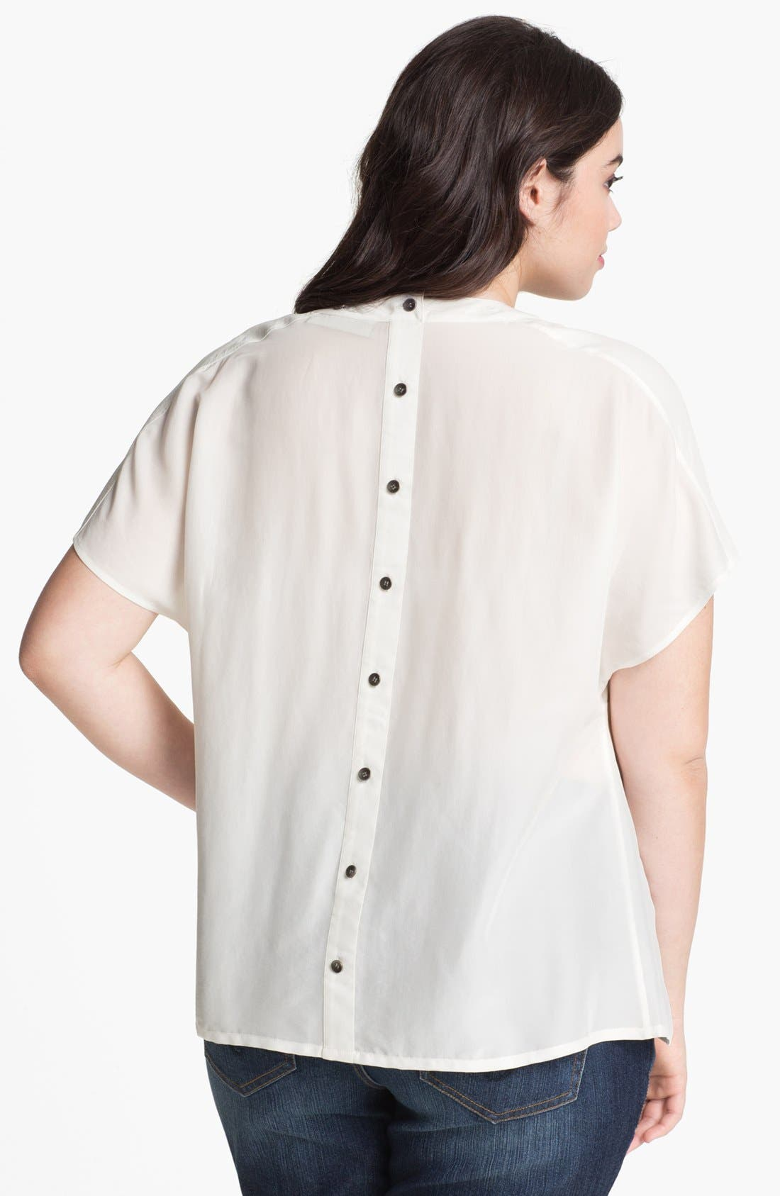 Alternate Image 2  - Sejour Button Detail Short Sleeve Blouse (Plus Size)