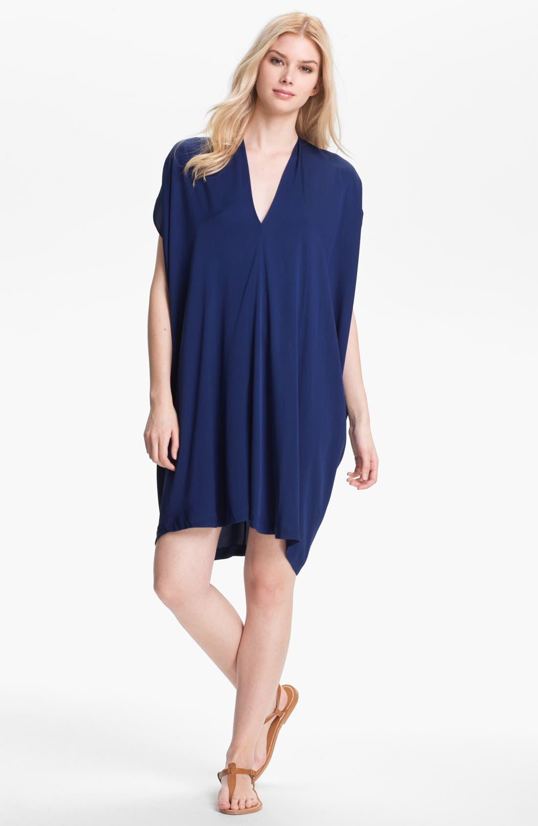 Main Image - Vince Oversized Stretch Silk Shift Dress
