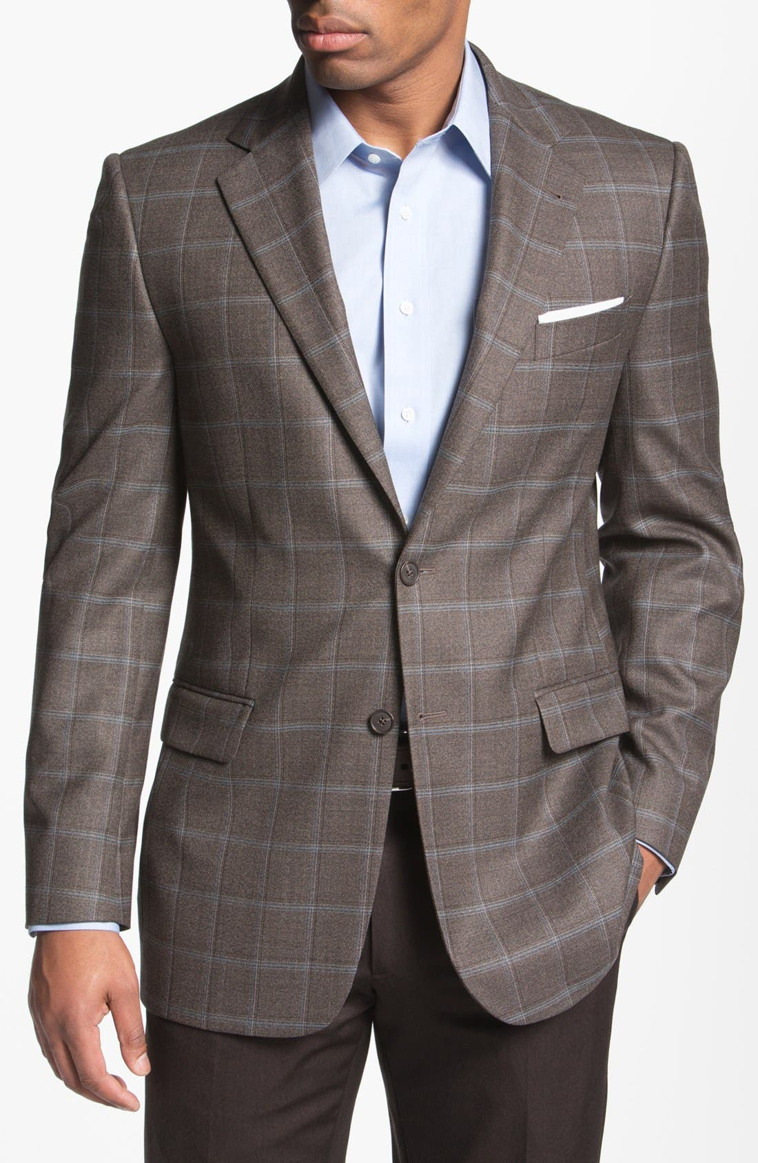 Main Image - Joseph Abboud 'Signature Silver' Plaid Wool Sportcoat (Online Only)