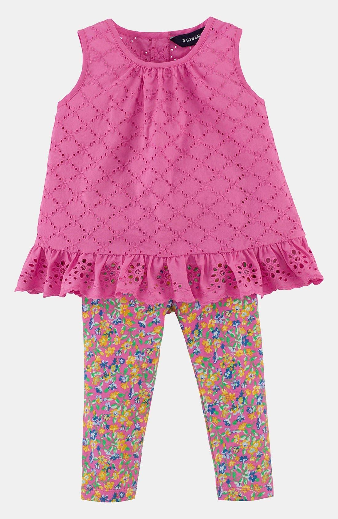 Alternate Image 1 Selected - Ralph Lauren Eyelet Top & Leggings (Baby)