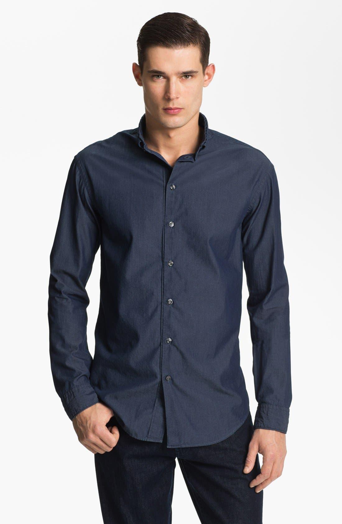 Main Image - Armani Collezioni Micro Check Cotton Sport Shirt