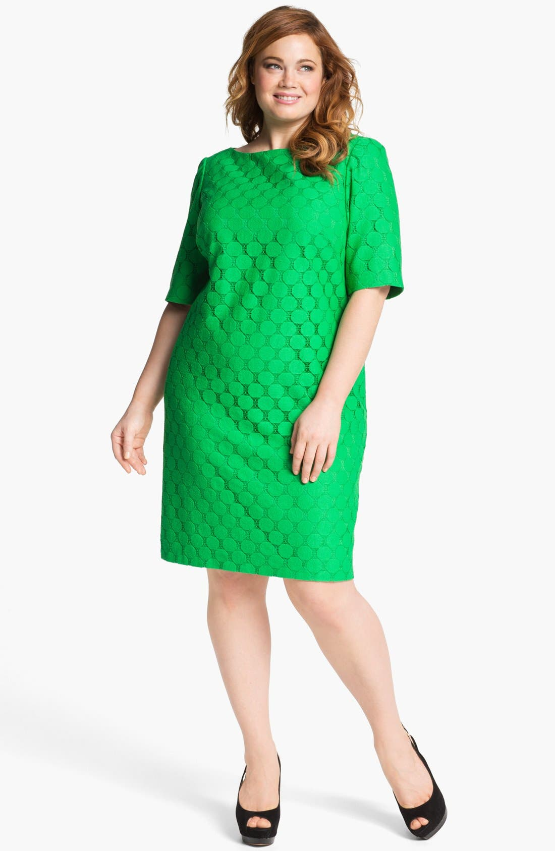 Alternate Image 1 Selected - Adrianna Papell Lace Shift Dress (Plus Size)