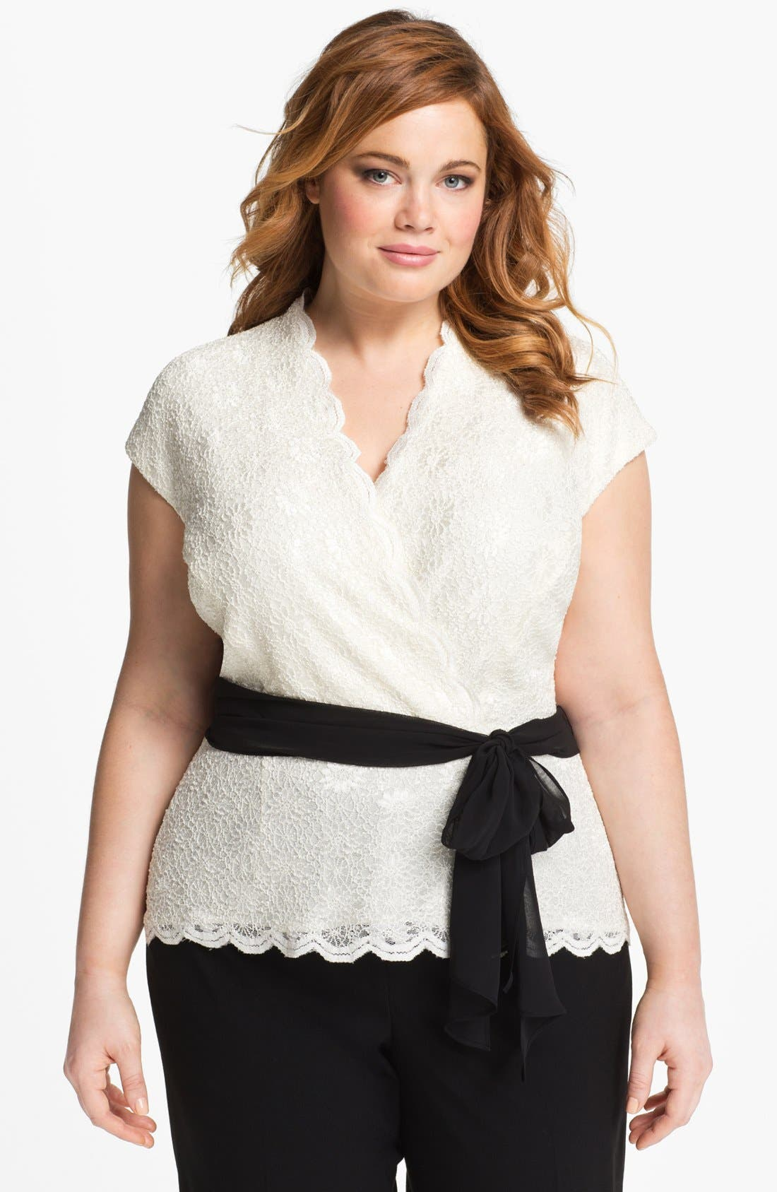 Alternate Image 1 Selected - Alex Evenings Lace Surplice Blouse (Plus Size)