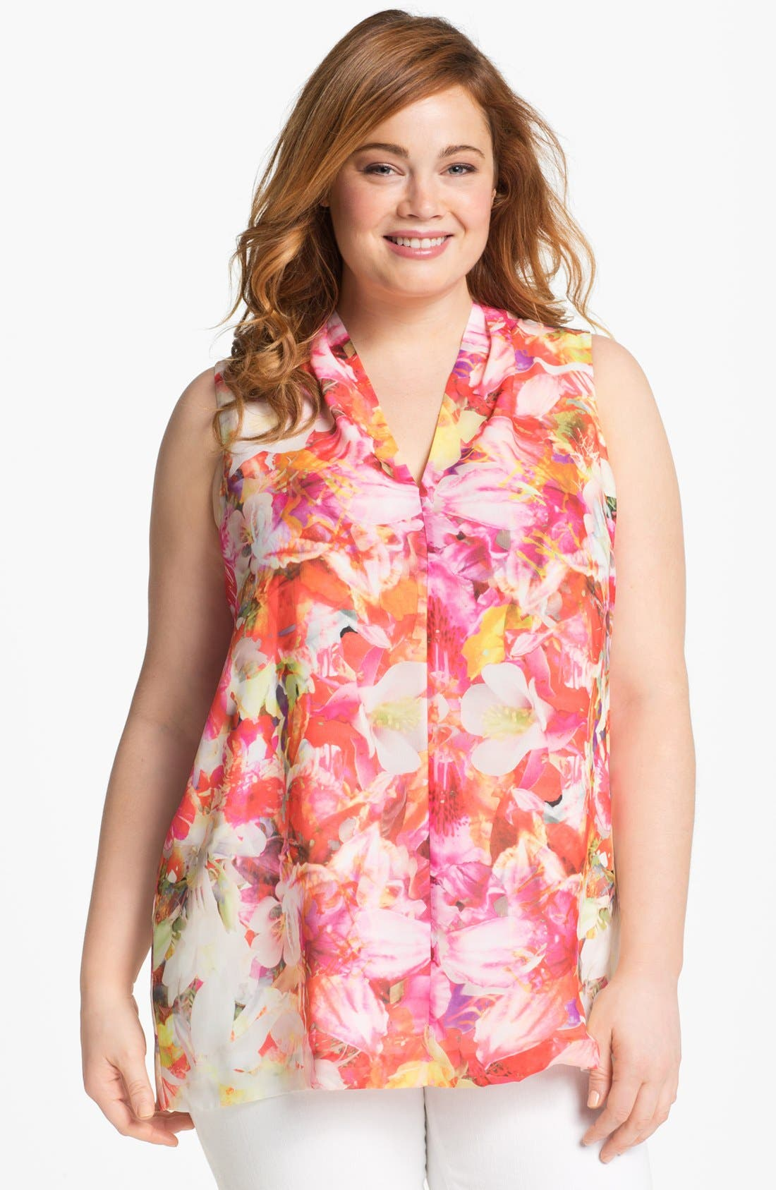 Main Image - Vince Camuto Floral Print Sleeveless Blouse (Plus Size)