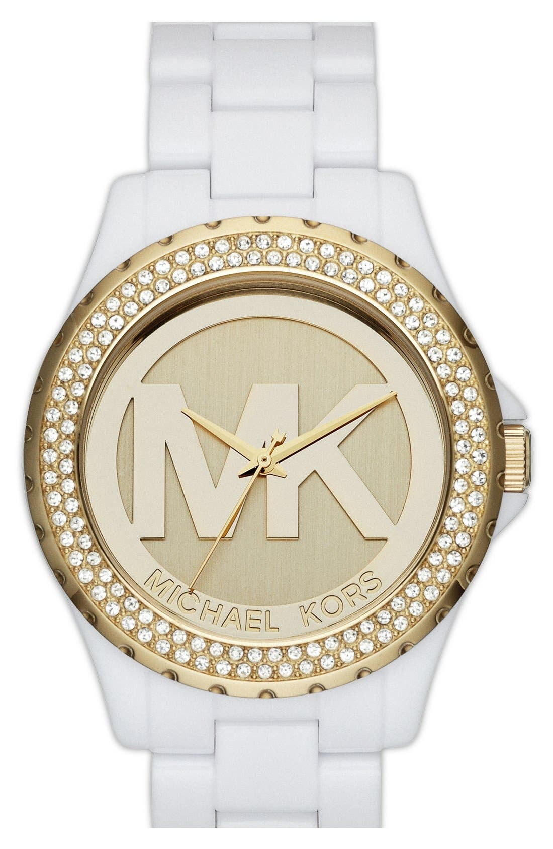 Alternate Image 1 Selected - Michael Kors 'Madison' Crystal Bezel Logo Watch, 42mm