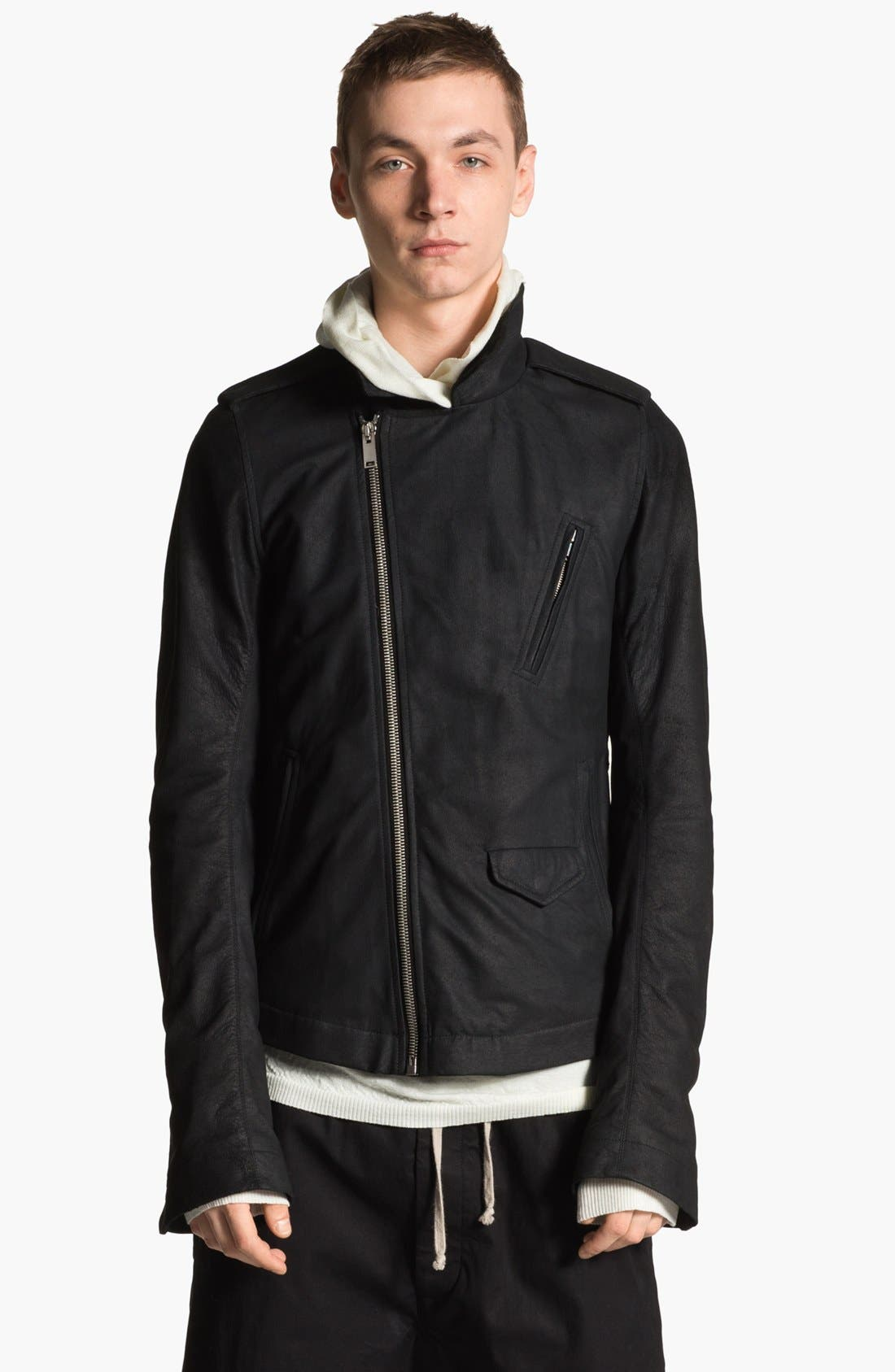 Alternate Image 1 Selected - Rick Owens Lambskin Leather Biker Jacket