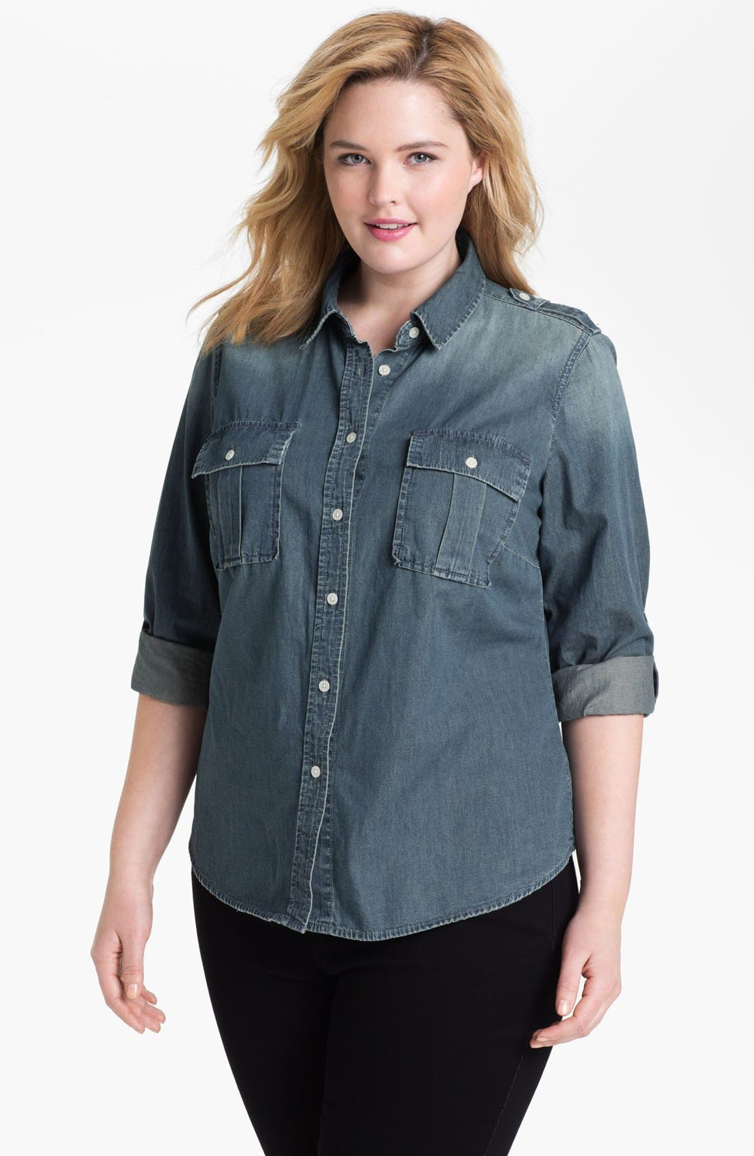 Alternate Image 1 Selected - MICHAEL Michael Kors Military Denim Shirt (Plus) (Online Only)