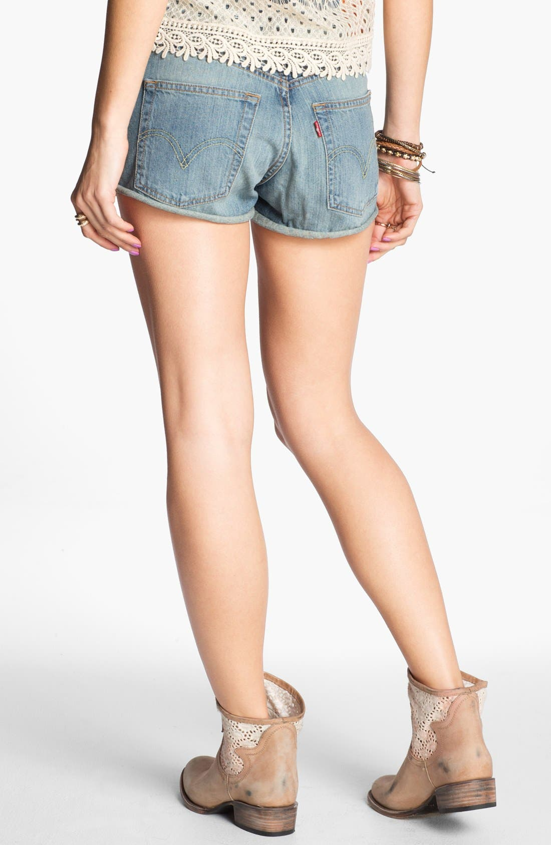Alternate Image 2  - Levi's® '501' High Waist Cuff Denim Shorts (Bright Idea)