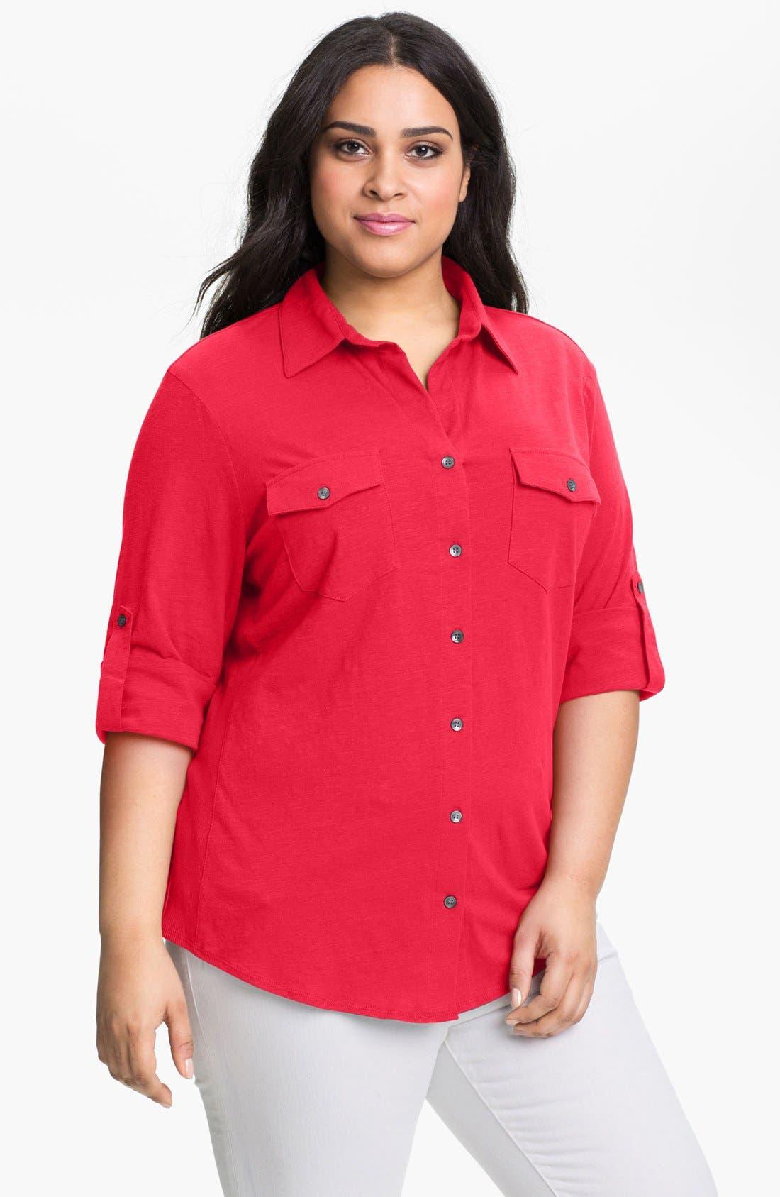 Main Image - Sandra Ingrish Roll Sleeve Knit Shirt (Plus Size)