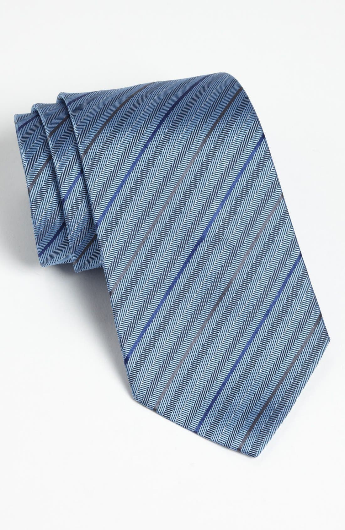 Alternate Image 1 Selected - Z Zegna Herringbone Stripe Woven Silk Tie