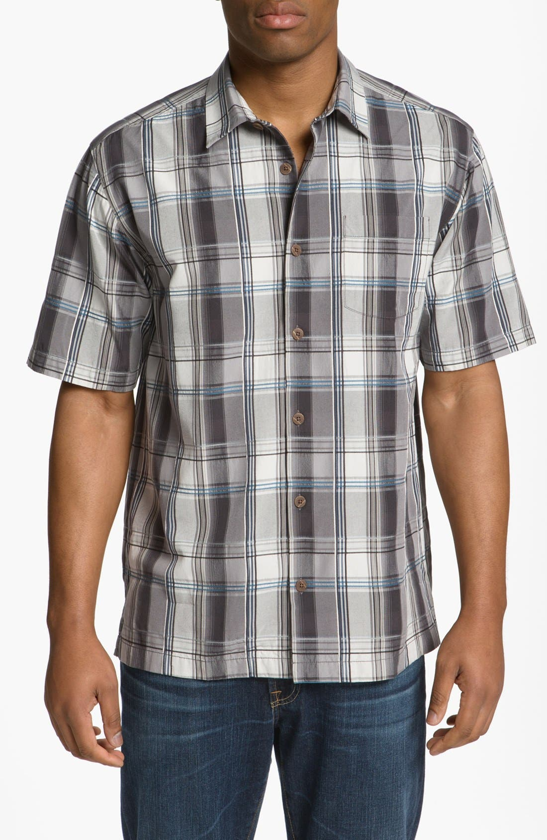 Main Image - Tommy Bahama 'Palace Plaid' Silk Campshirt