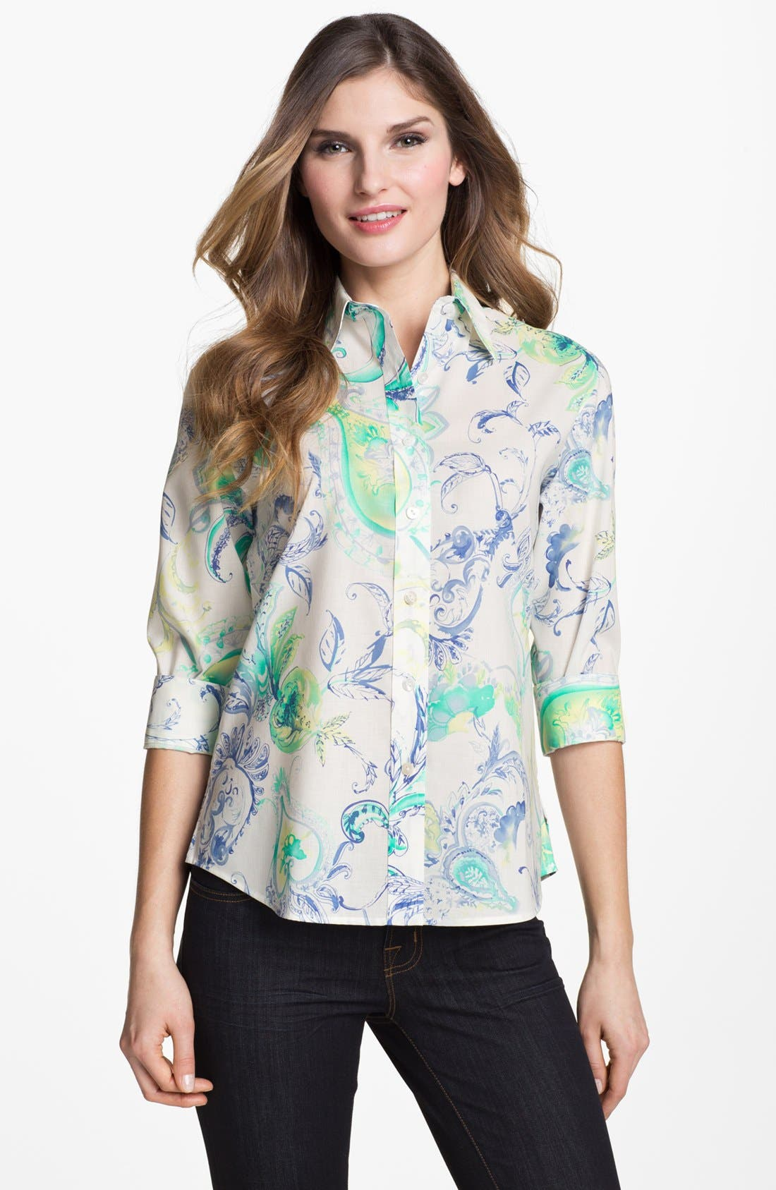 Alternate Image 1 Selected - Foxcroft Flower Paisley Print Shaped Shirt