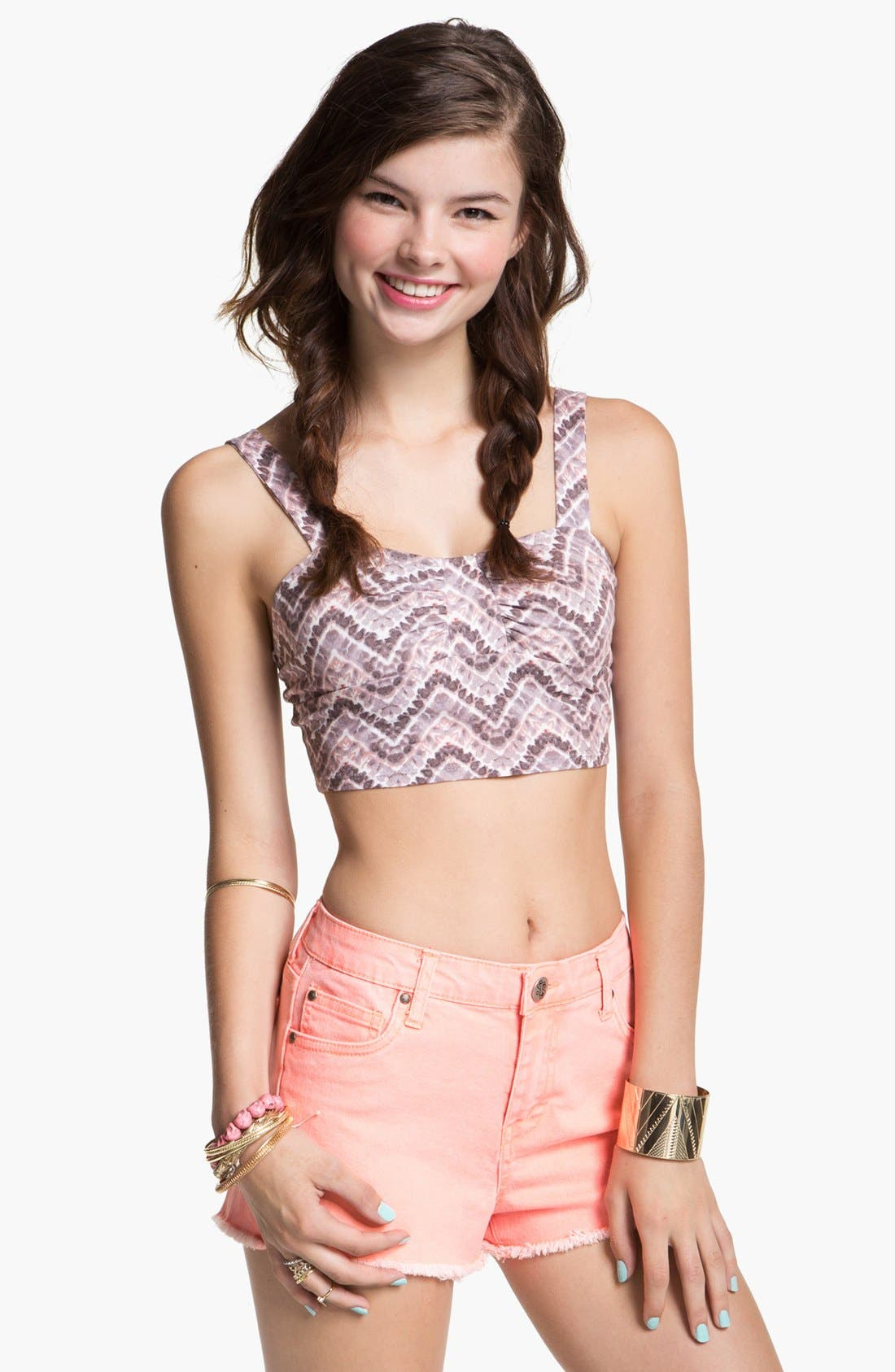 Alternate Image 1 Selected - Painted Threads Print Long Line Bralette (Juniors)