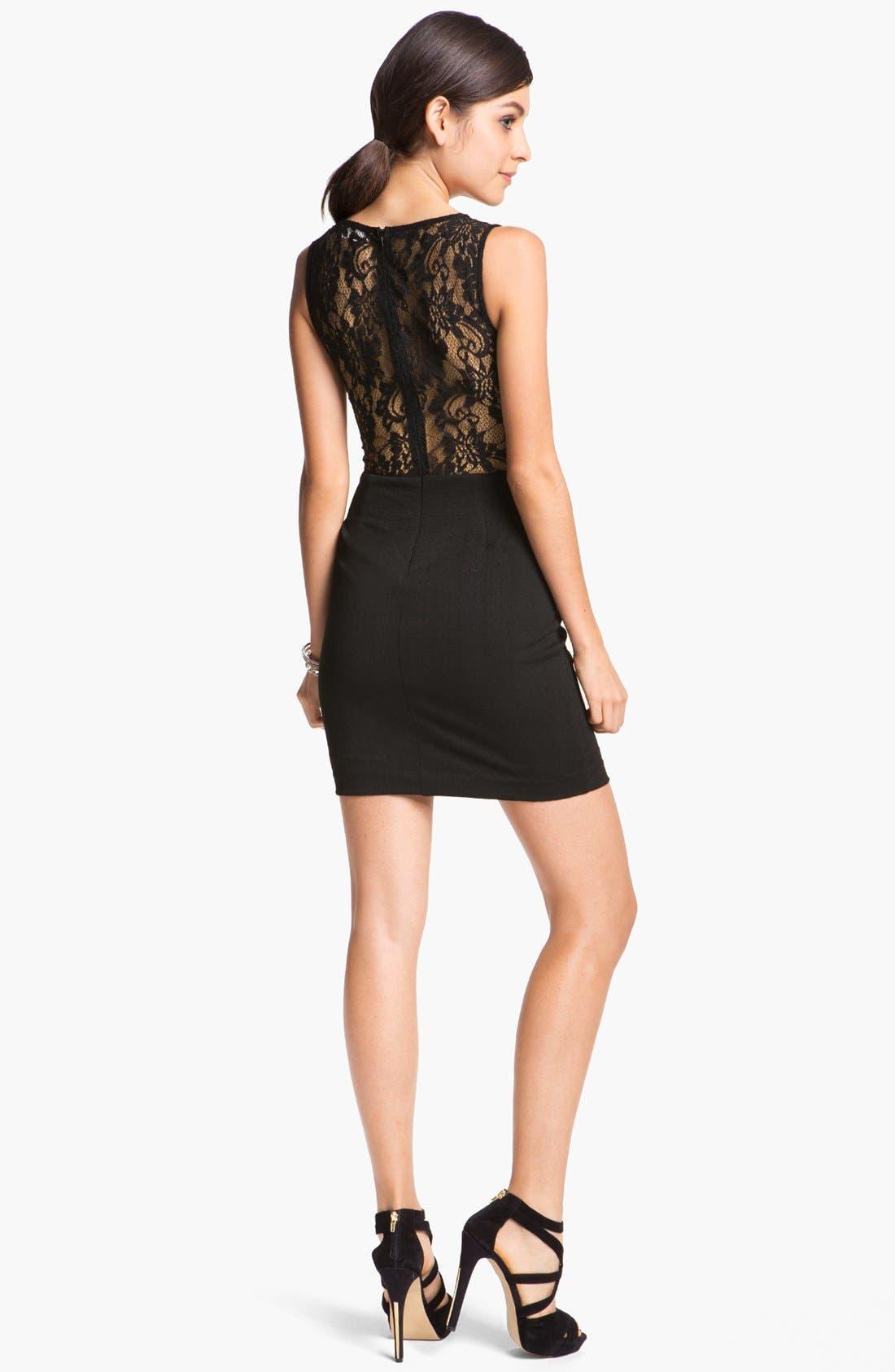 Alternate Image 2  - En Crème Lace Illusion Body-Con Dress (Juniors)
