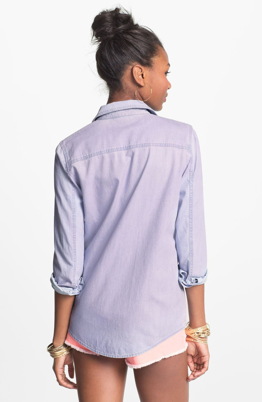 Alternate Image 2  - BP. Overdyed Chambray Shirt (Juniors)