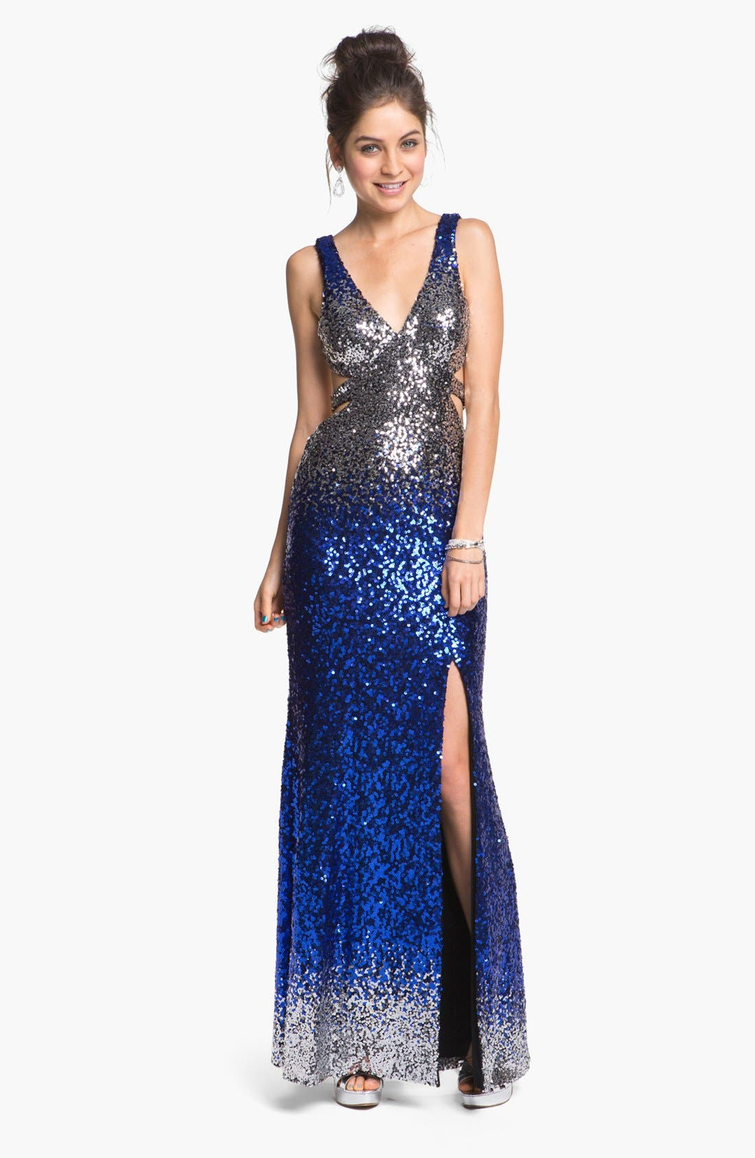 Alternate Image 1  - Faviana Back Cutout Ombré Sequined Gown