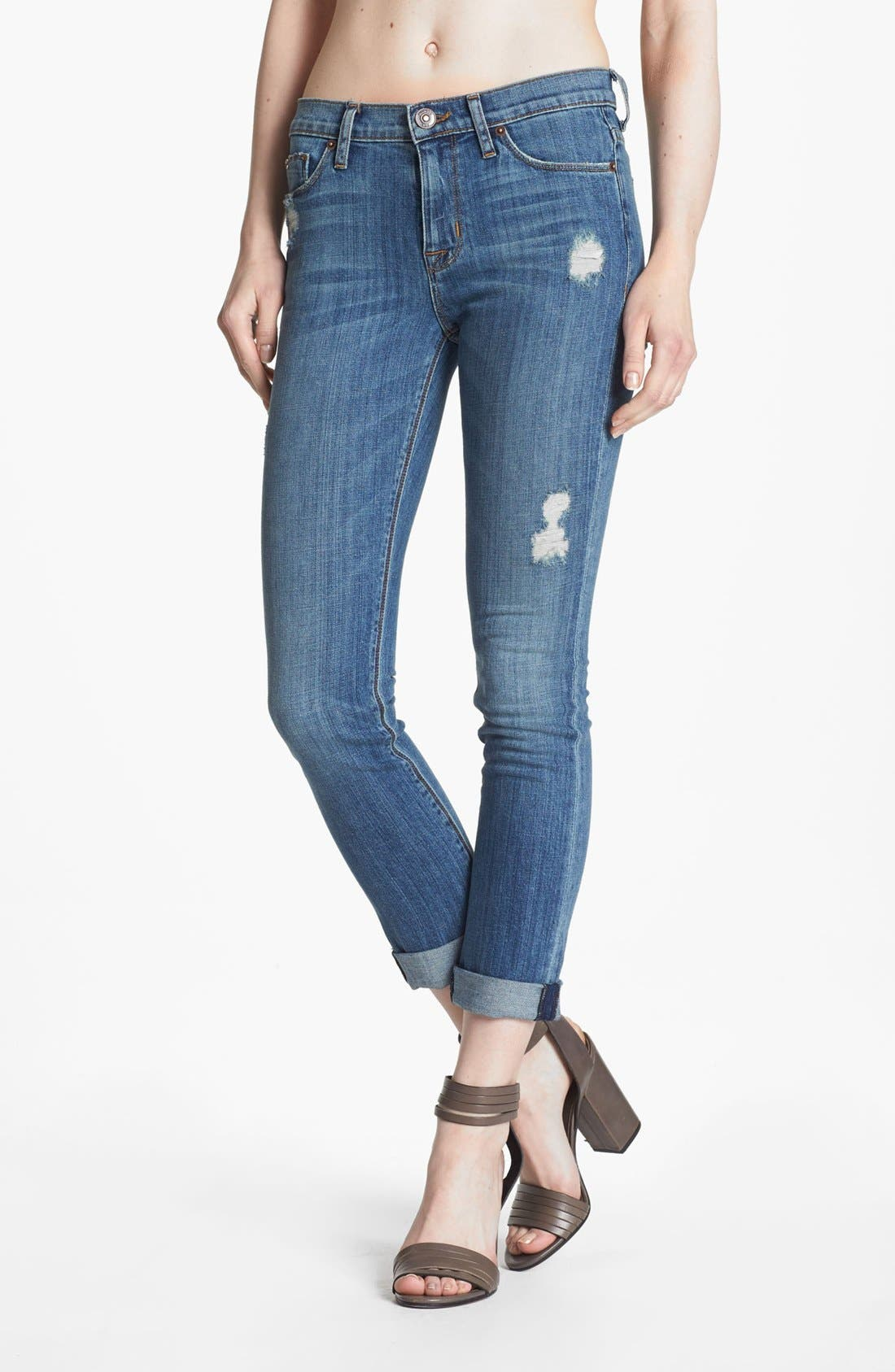 Alternate Image 1 Selected - Hudson Jeans Midrise Cuff Straight Leg Jeans (Vintage Napoli)