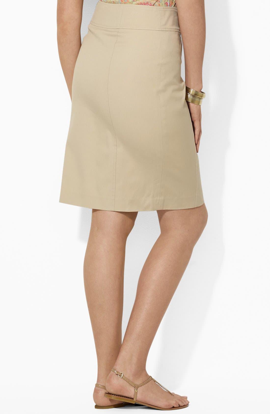 Alternate Image 2  - Lauren Ralph Lauren Button Detail Straight Skirt (Plus Size)