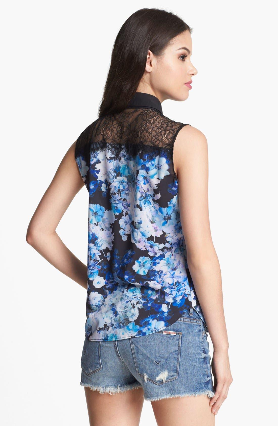 Alternate Image 2  - Robbi & Nikki Floral Print Sleeveless Shirt