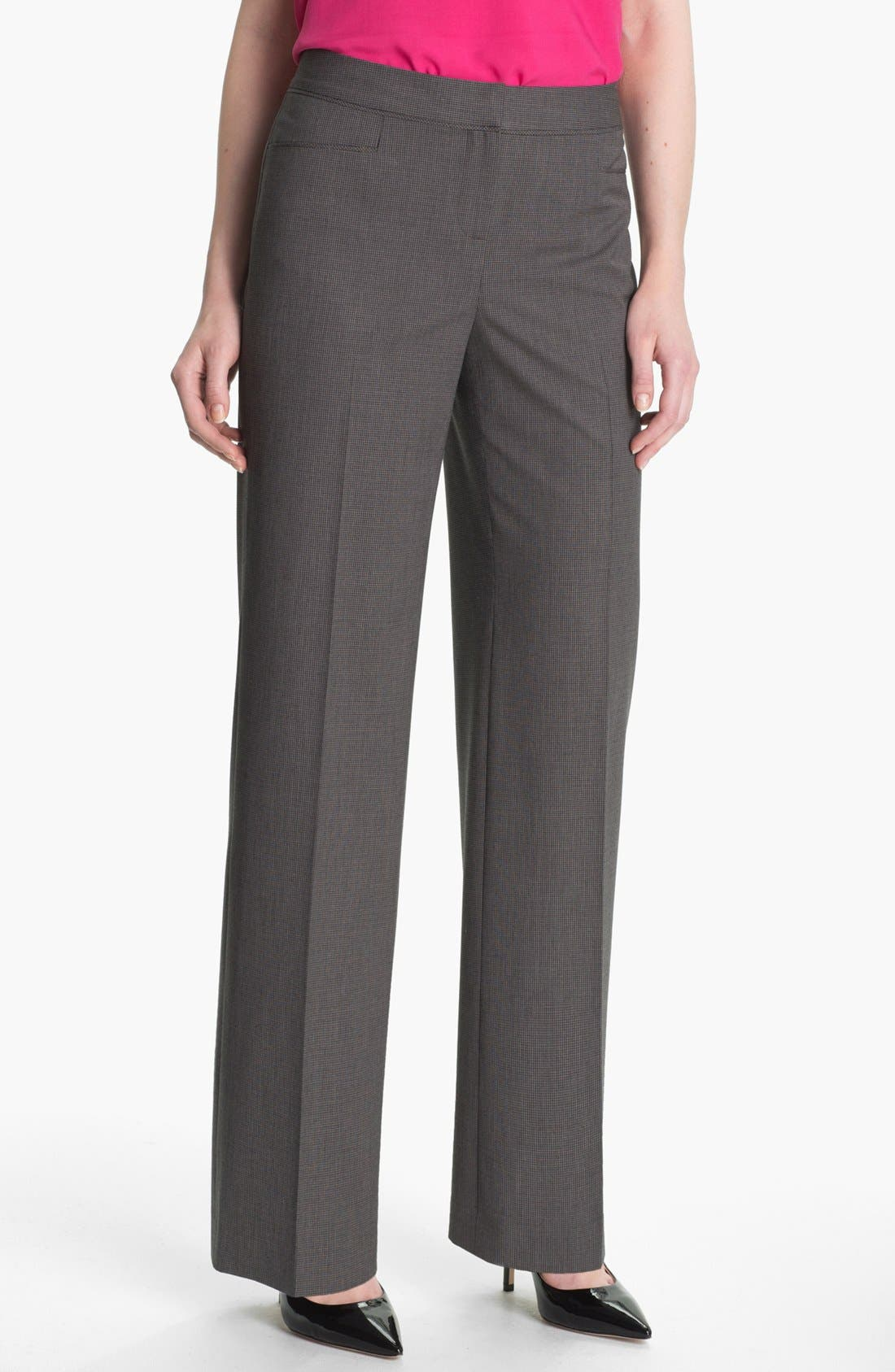 Alternate Image 1 Selected - Halogen® 'Taylor' Mini Check Curvy Fit Pants (Petite)