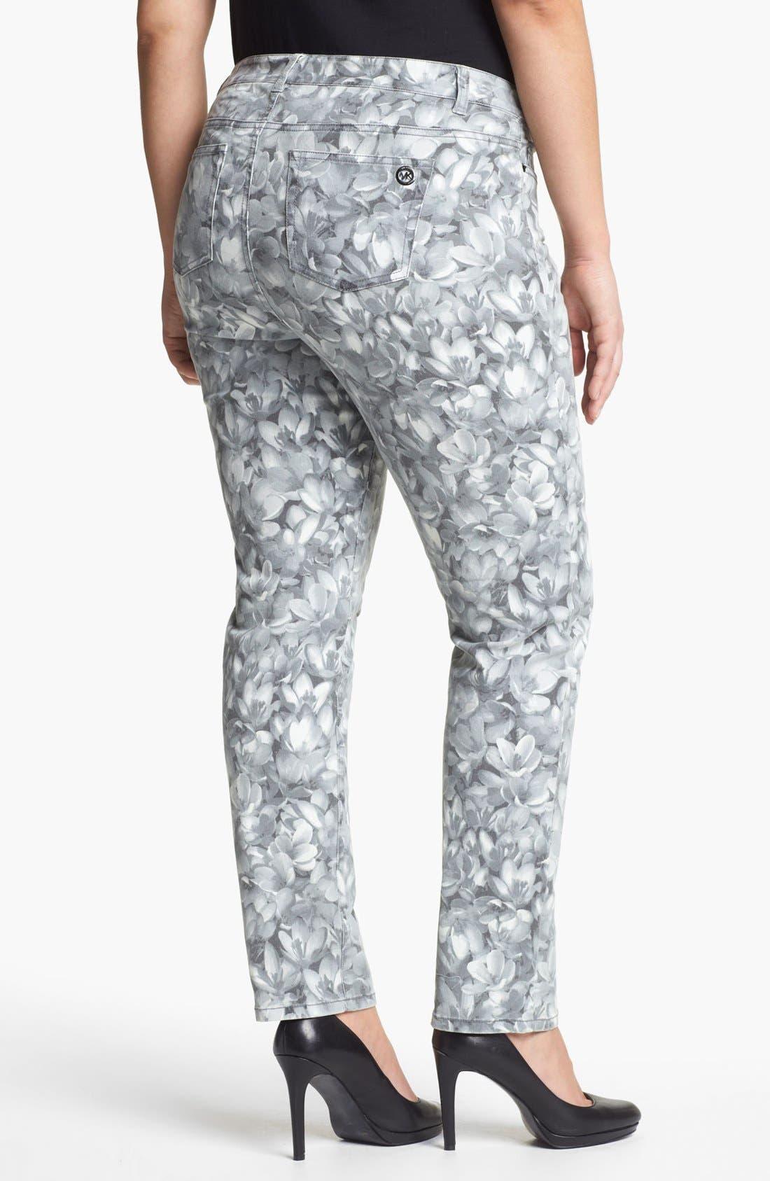 Alternate Image 2  - MICHAEL Michael Kors 'Wildflower' Print Skinny Jeans (Plus)