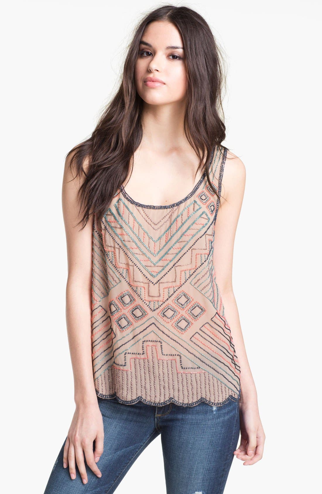 Alternate Image 1 Selected - Willow & Clay Tribal Beaded Tank