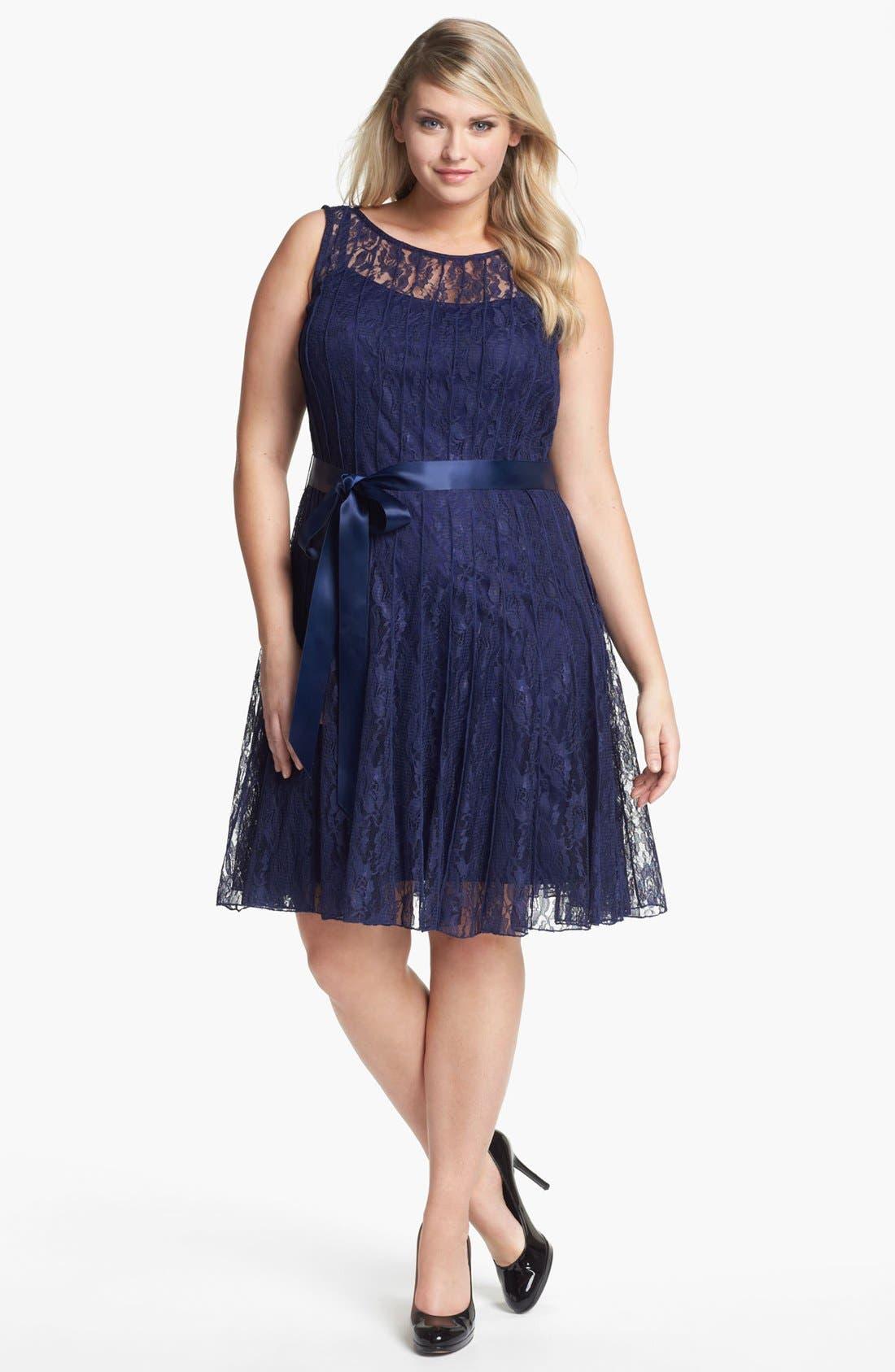 Main Image - Xscape Pleated Lace Fit & Flare Dress (Plus Size)