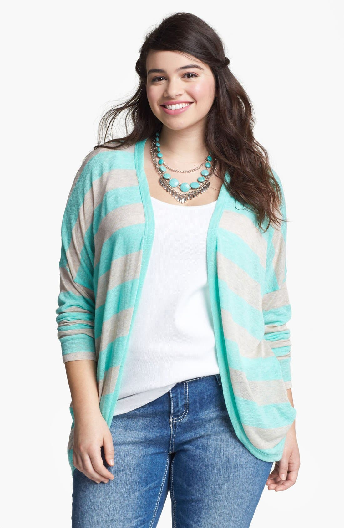 Alternate Image 1 Selected - Painted Threads Stripe Cardigan (Juniors Plus)