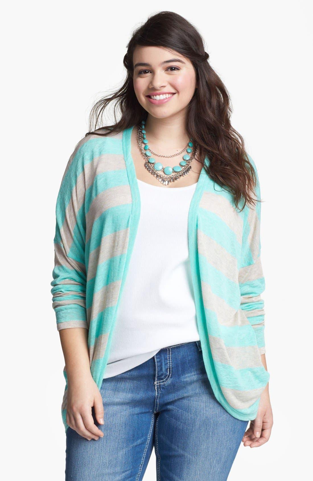 Main Image - Painted Threads Stripe Cardigan (Juniors Plus)