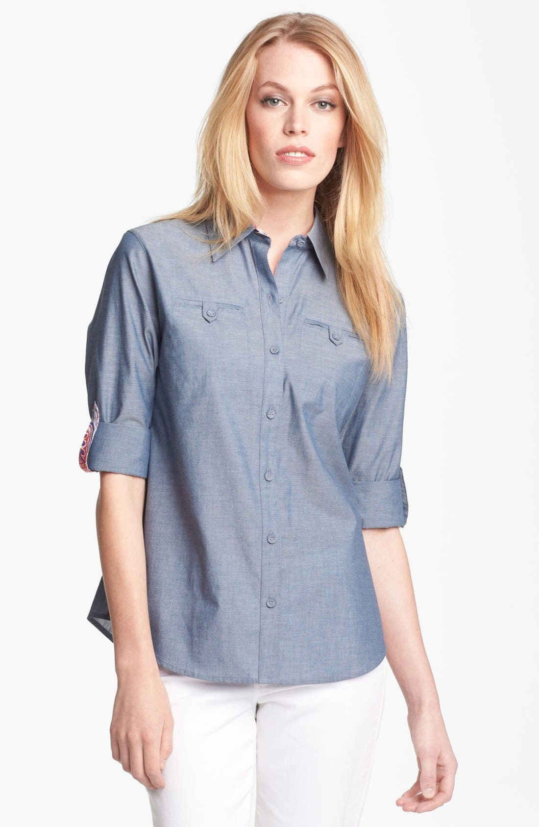 Alternate Image 1 Selected - Foxcroft Chambray Shirt (Petite)